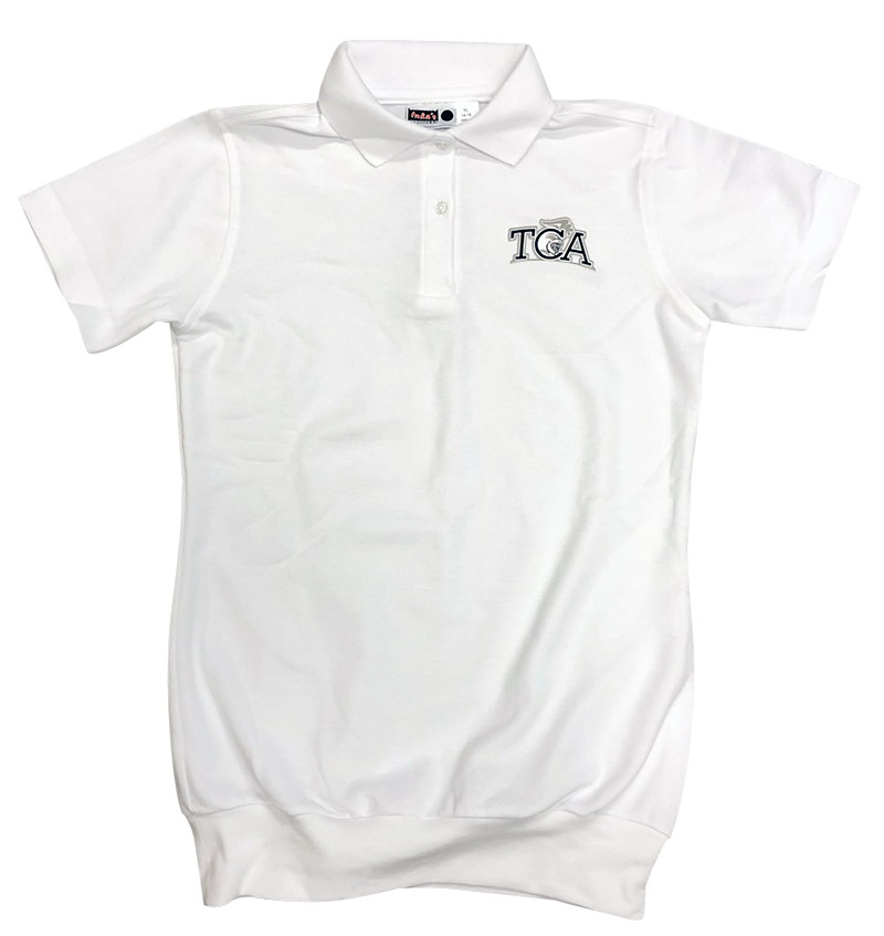 TCA Short Sleeve Banded Bottom Pique Knit: White