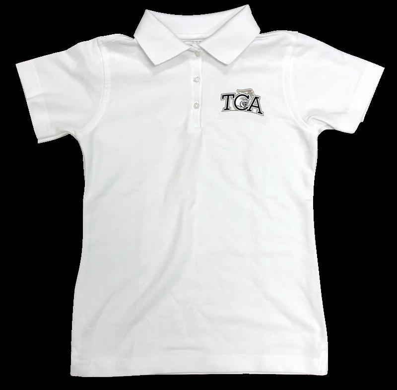 TCA Short Sleeve Ladies Fit Pique Knit - White