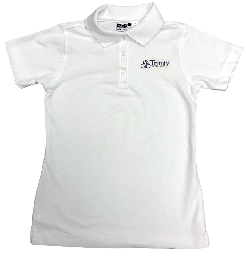 Trinity Short Sleeve Girls Fitted Pique Knit - White