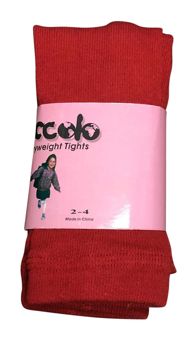 Tights - Flat Knit Heavyweight - Red