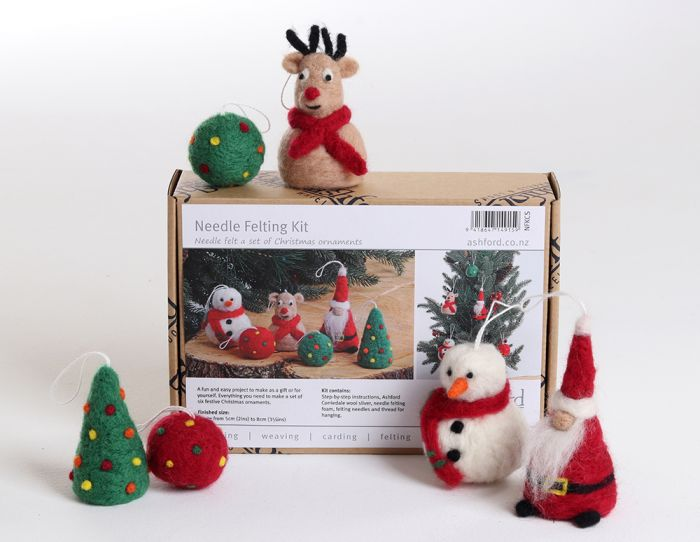 Needlefelting kit with Santa, Snowman, Reindeer, Christmas Tree, and two colorful round ornaments