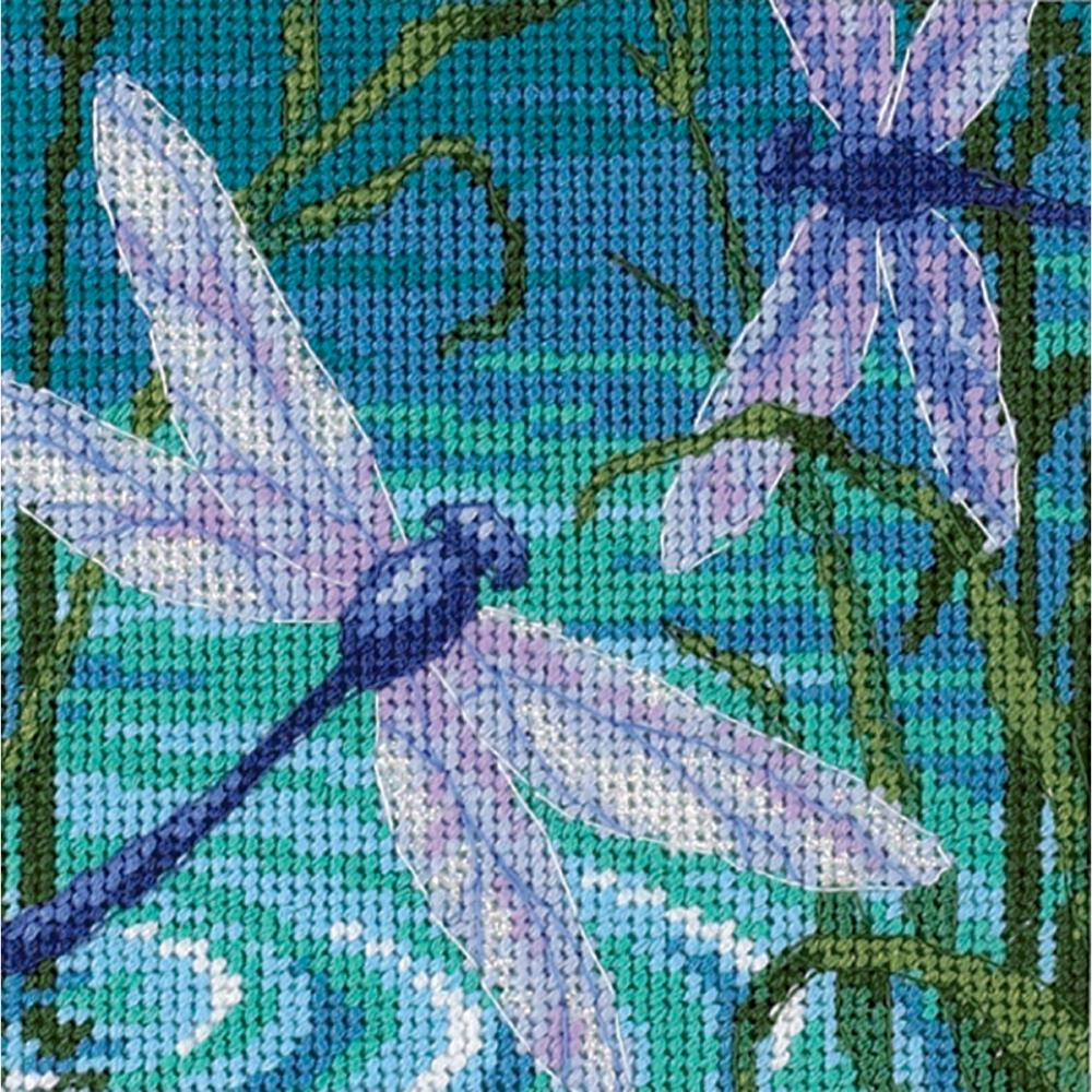 Dimensions Needlepoint 5x5in Dragonfly Pair