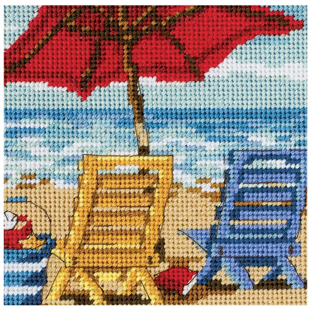 Dimensions Needlepoint 5x5in Beach Chair Duo
