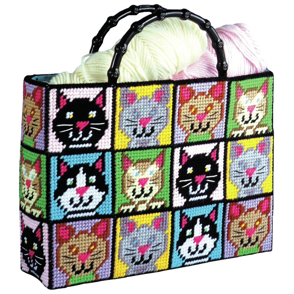 Plastic Canvas Tote Bag Kit Cat mosaic
