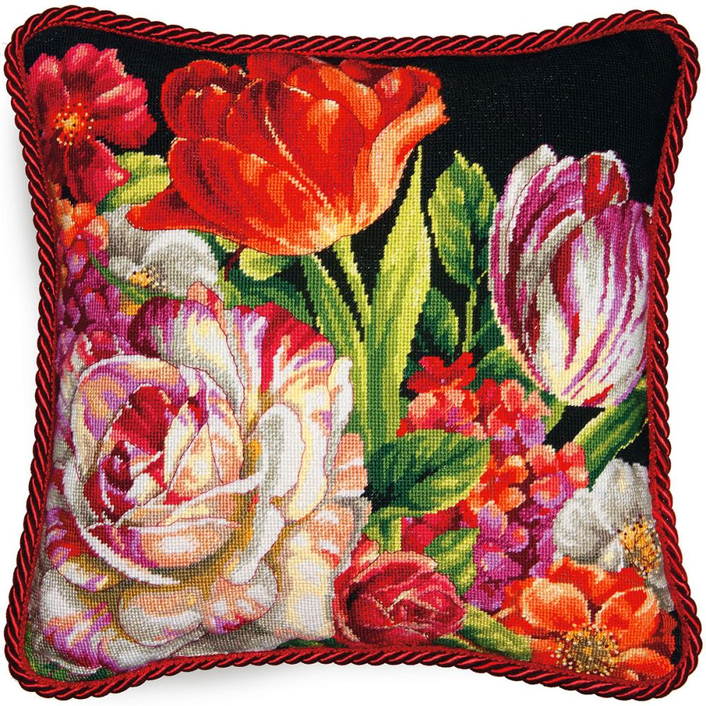 Dimensions Needlepoint 14x14in Bouquet on Black