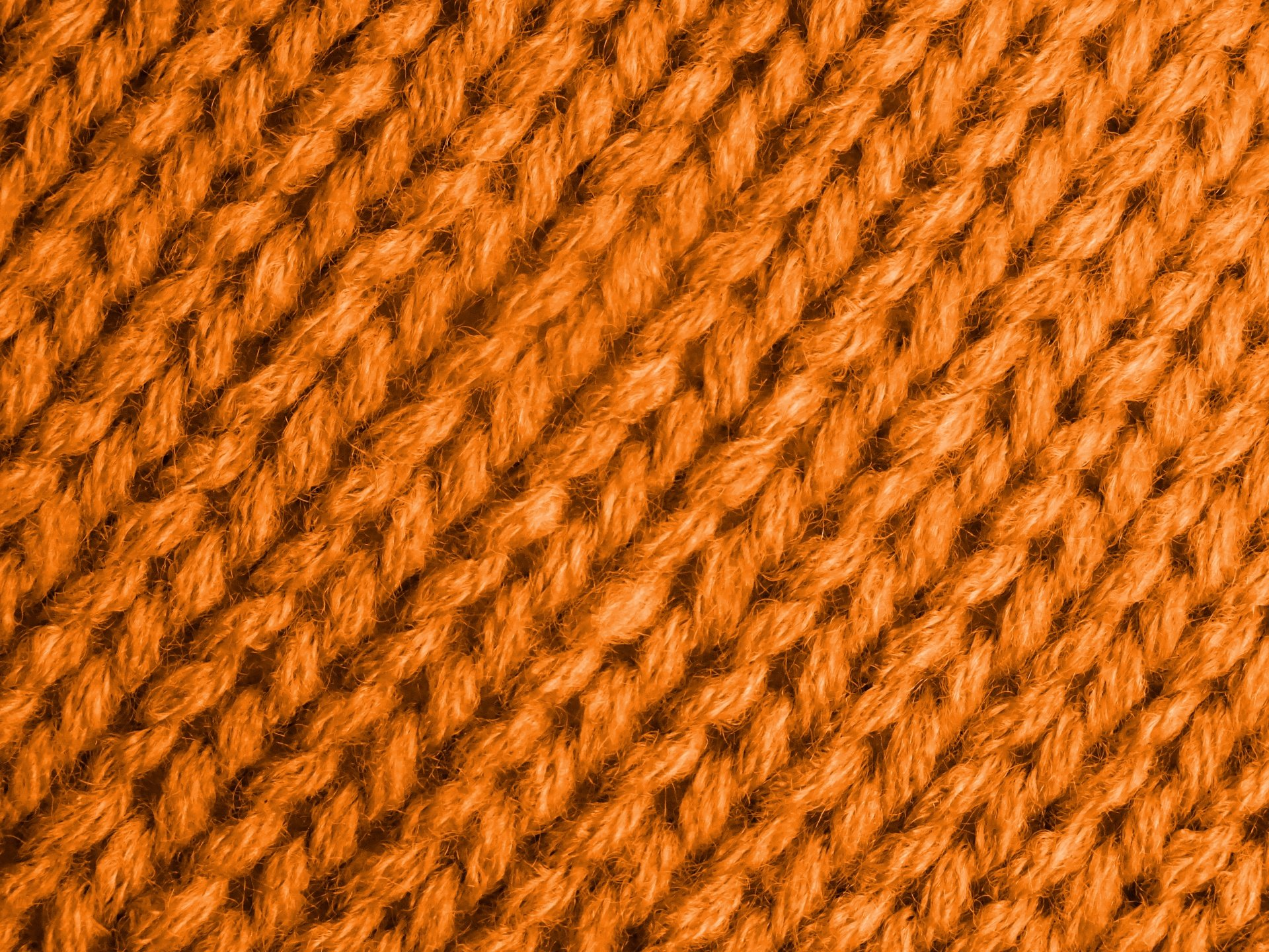 A field of perfect knit stitches in orange yarn