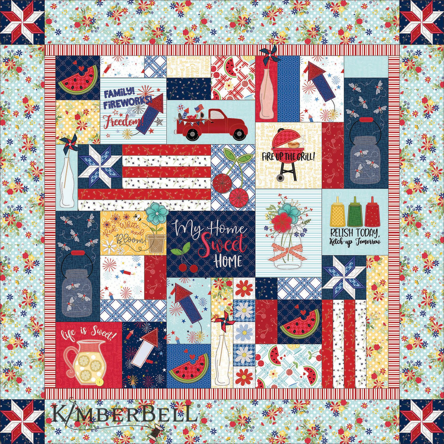 Red, White, and Bloom Embroidery Quilt Kit