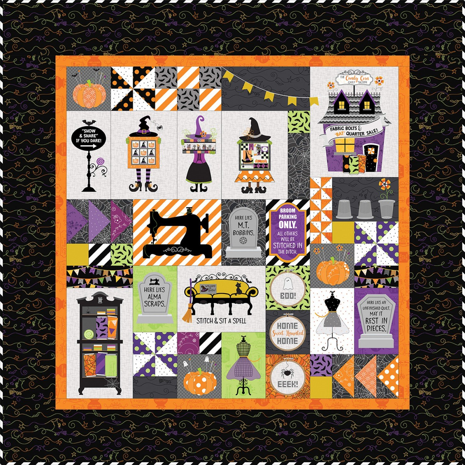 Candy Corn Quilt Shoppe Kit - Machine Embroidery