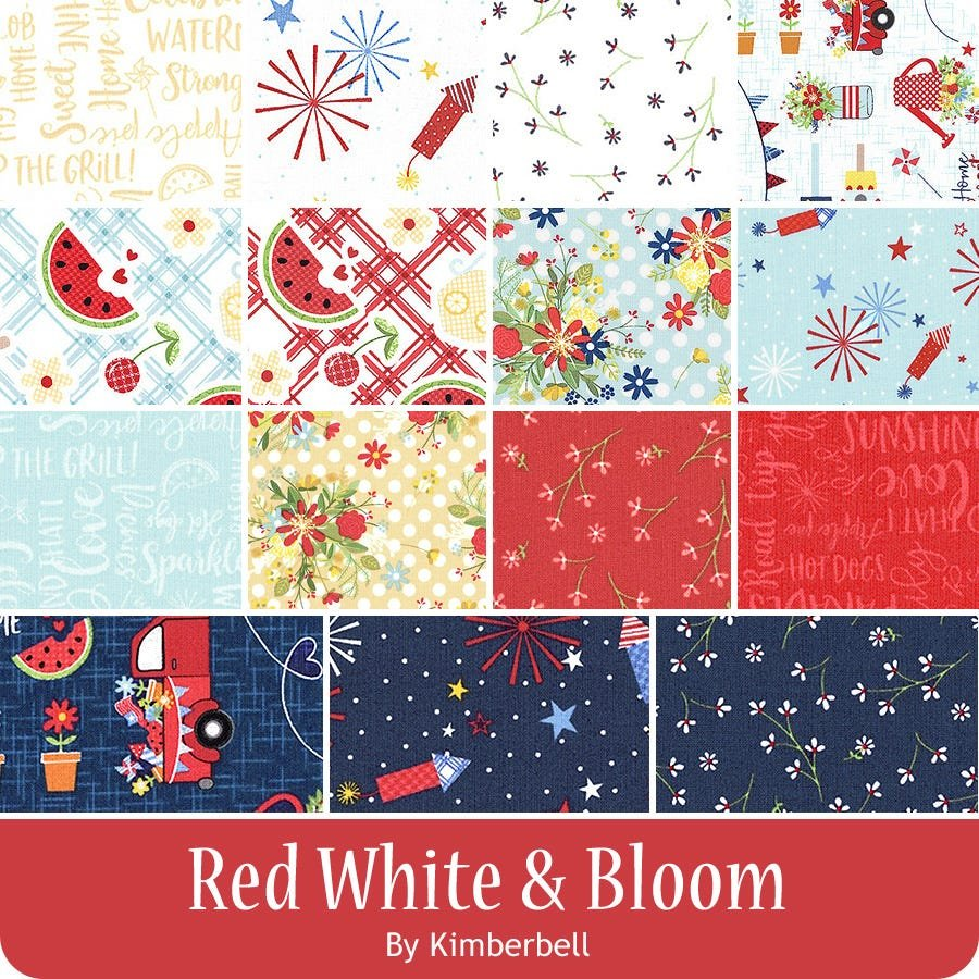 Red, White, and Bloom 1 yard Bundle
