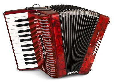 3482 - Red Hohner Hohnica Piano Accordion MM 26 12