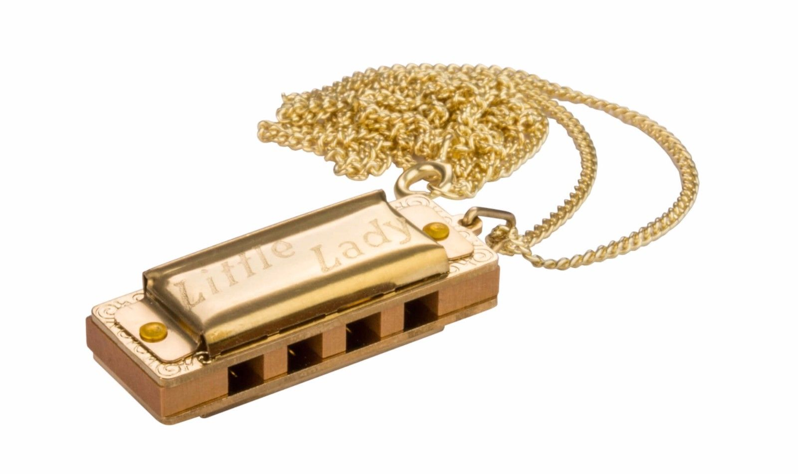 New Hohner 110/8 Little Lady Gold Plated Miniature Diatonic Harmonica Necklace with Chain Key of C