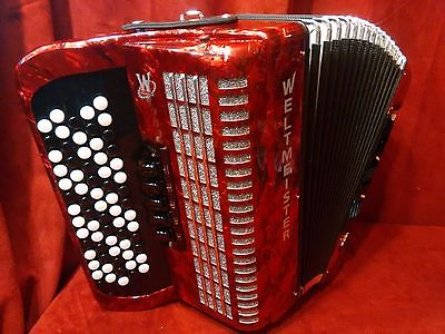 NEW Red Weltmeister Romance 703 Chromatic Button Accordion B LMM 70  96