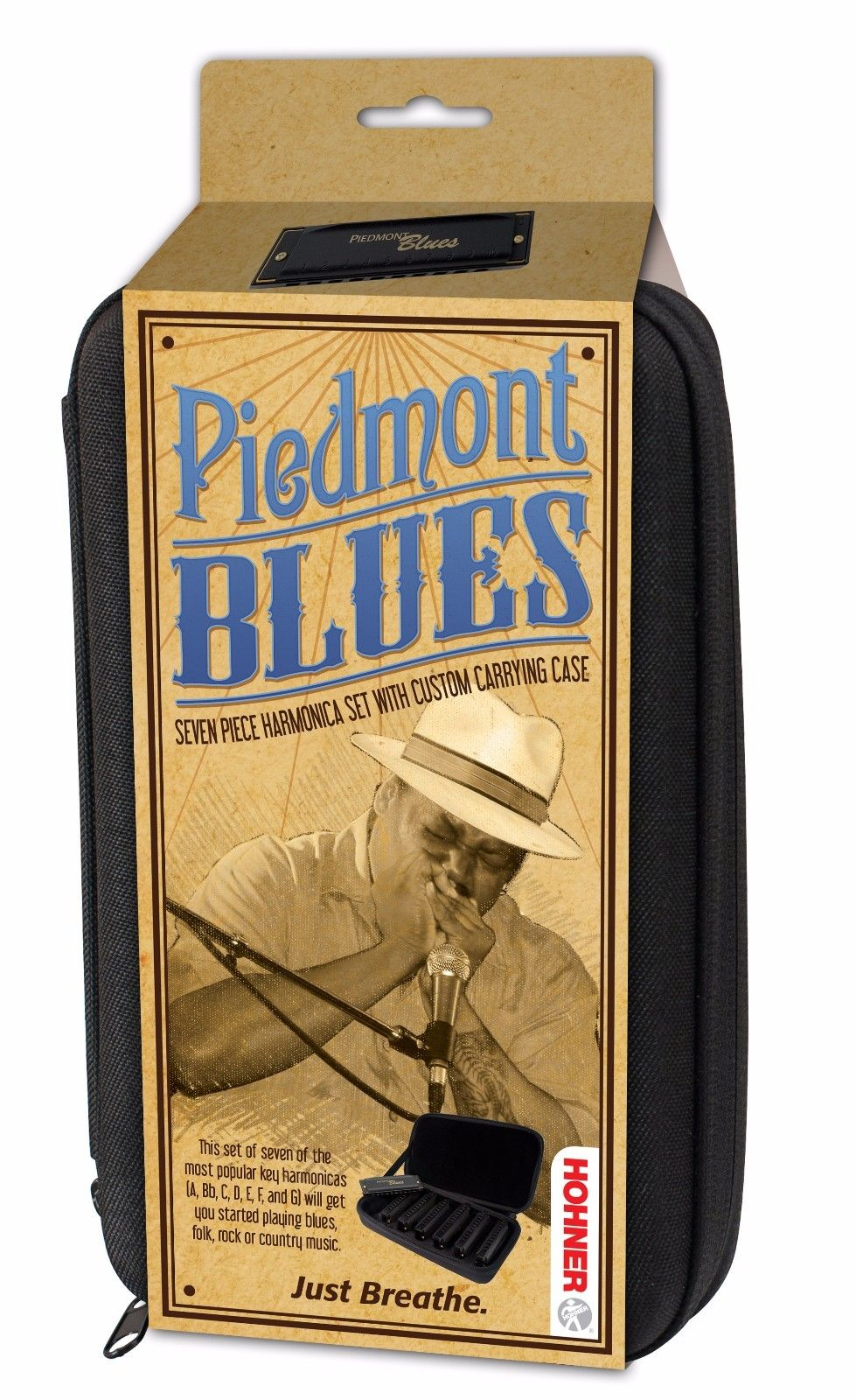 New Hohner Piedmont Diatonic Blues Harmonica 7-Pack A Bb C D E F G
