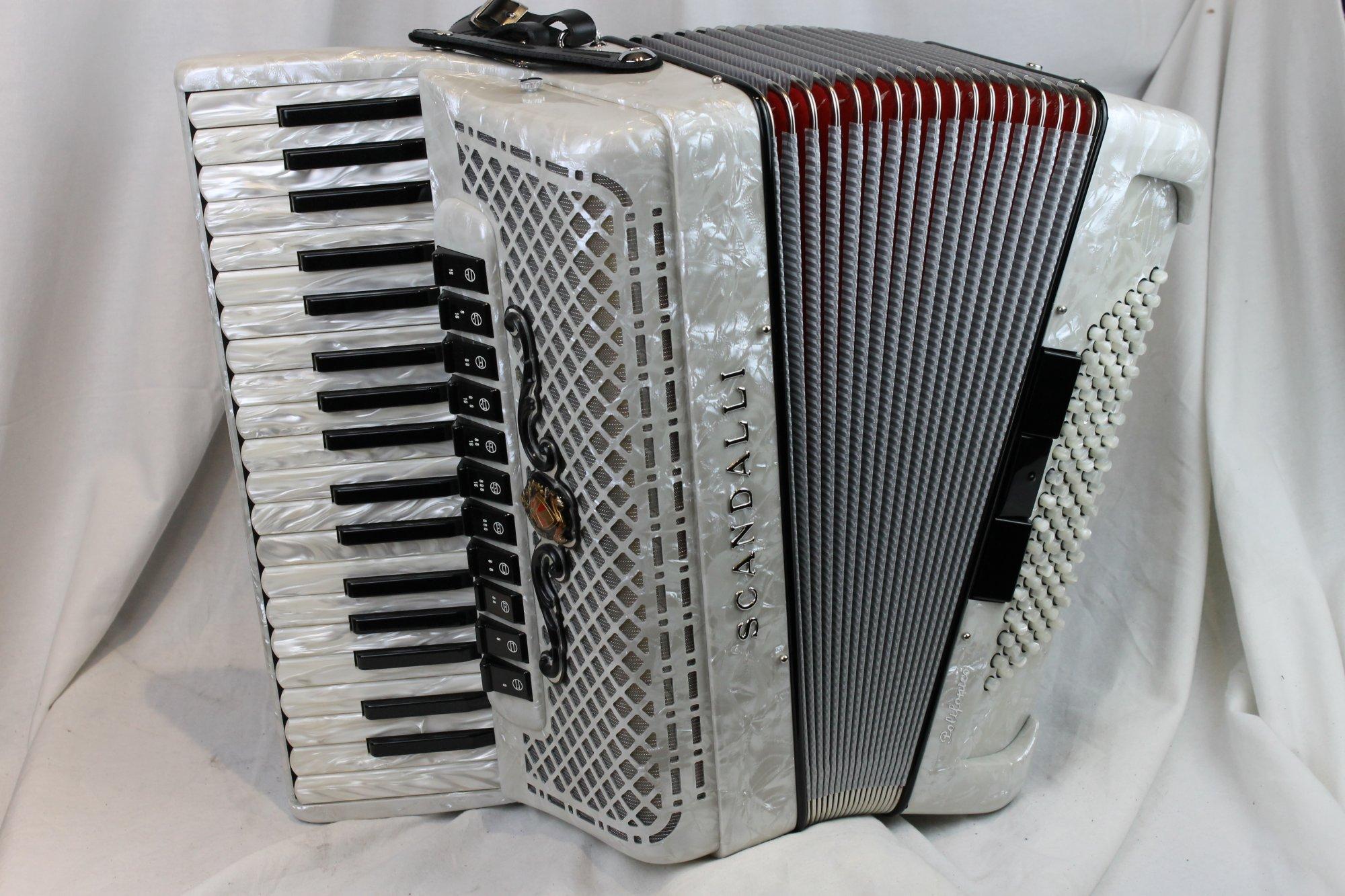 NEW White Scandalli Polifonico IX Piano Accordion LMMM 37 96