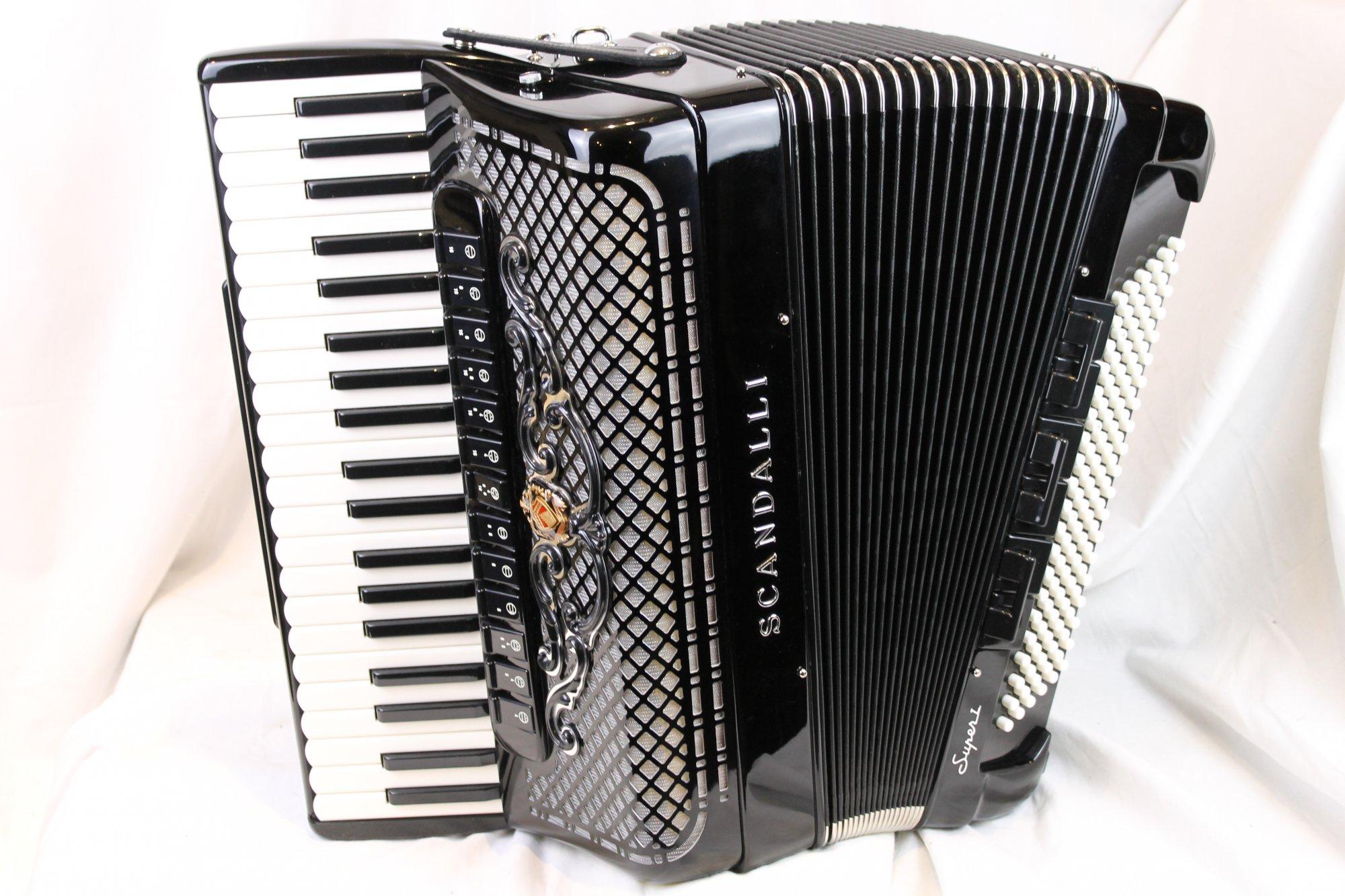 NEW Black Scandalli Super L Piano Accordion LMMH 41 120