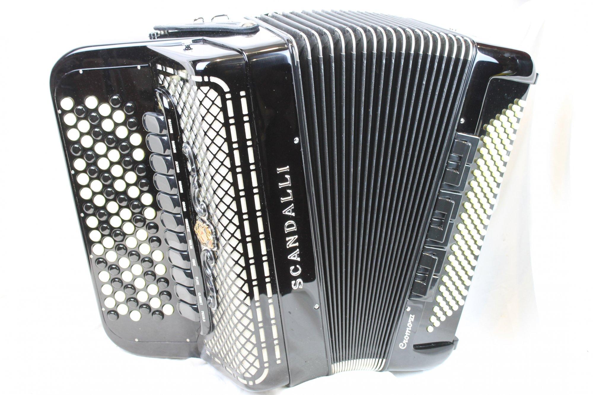 NEW Black Scandalli Cromo Balkan Chromatic Button Accordion