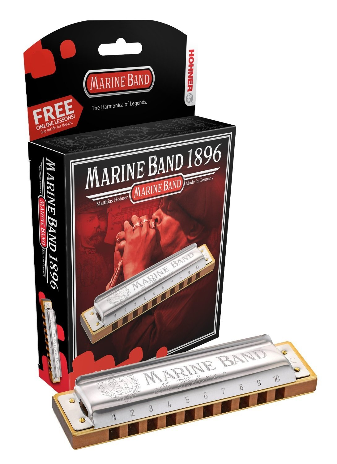 New Hohner Marine Band 1896 Diatonic Harmonica Key of A