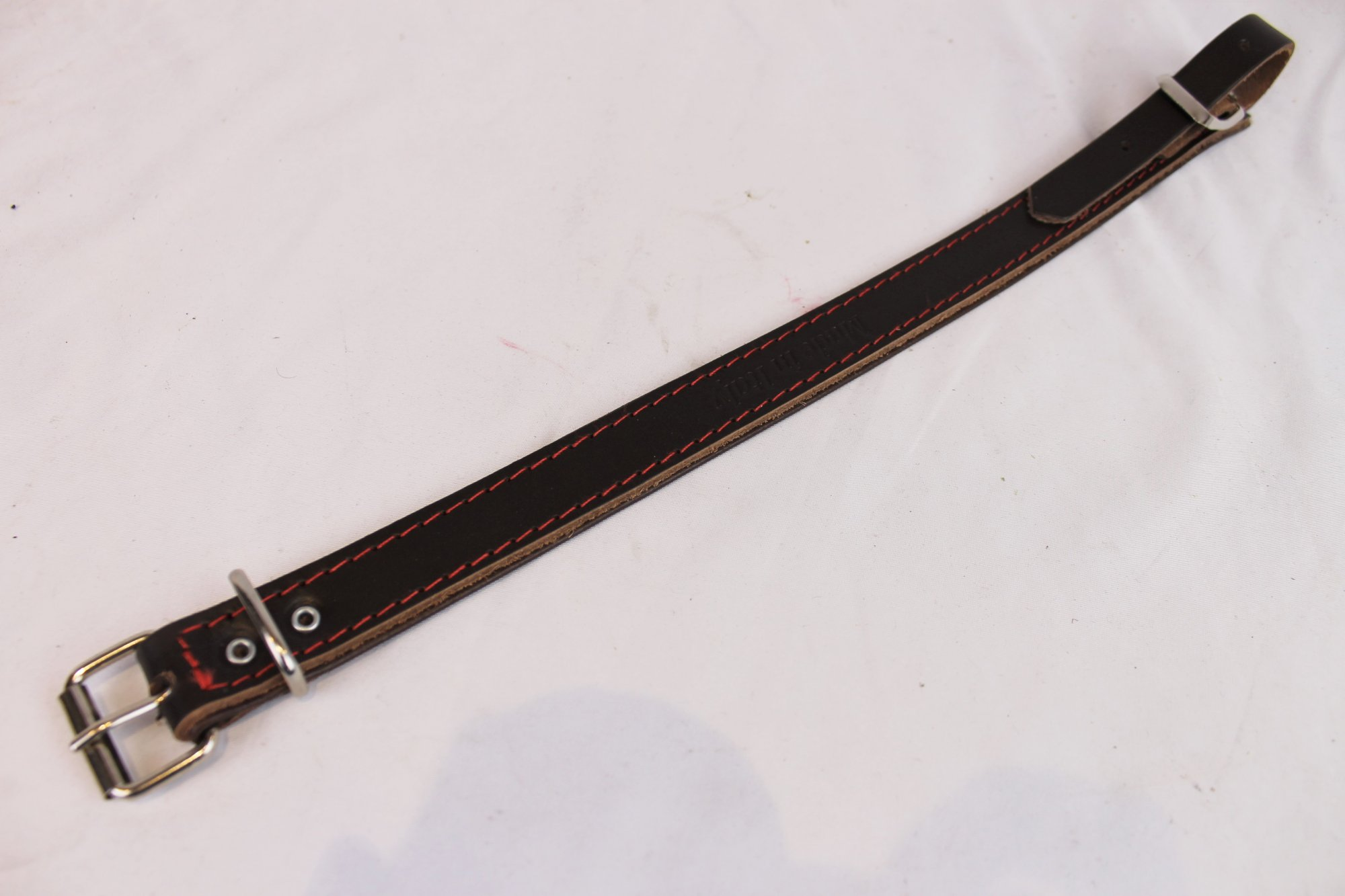 NEW Brown Fuselli Leather Shoulder Strap Extender Width (2.5cm / 1in) Length (39.5cm / 15.5in) - Red Stitching