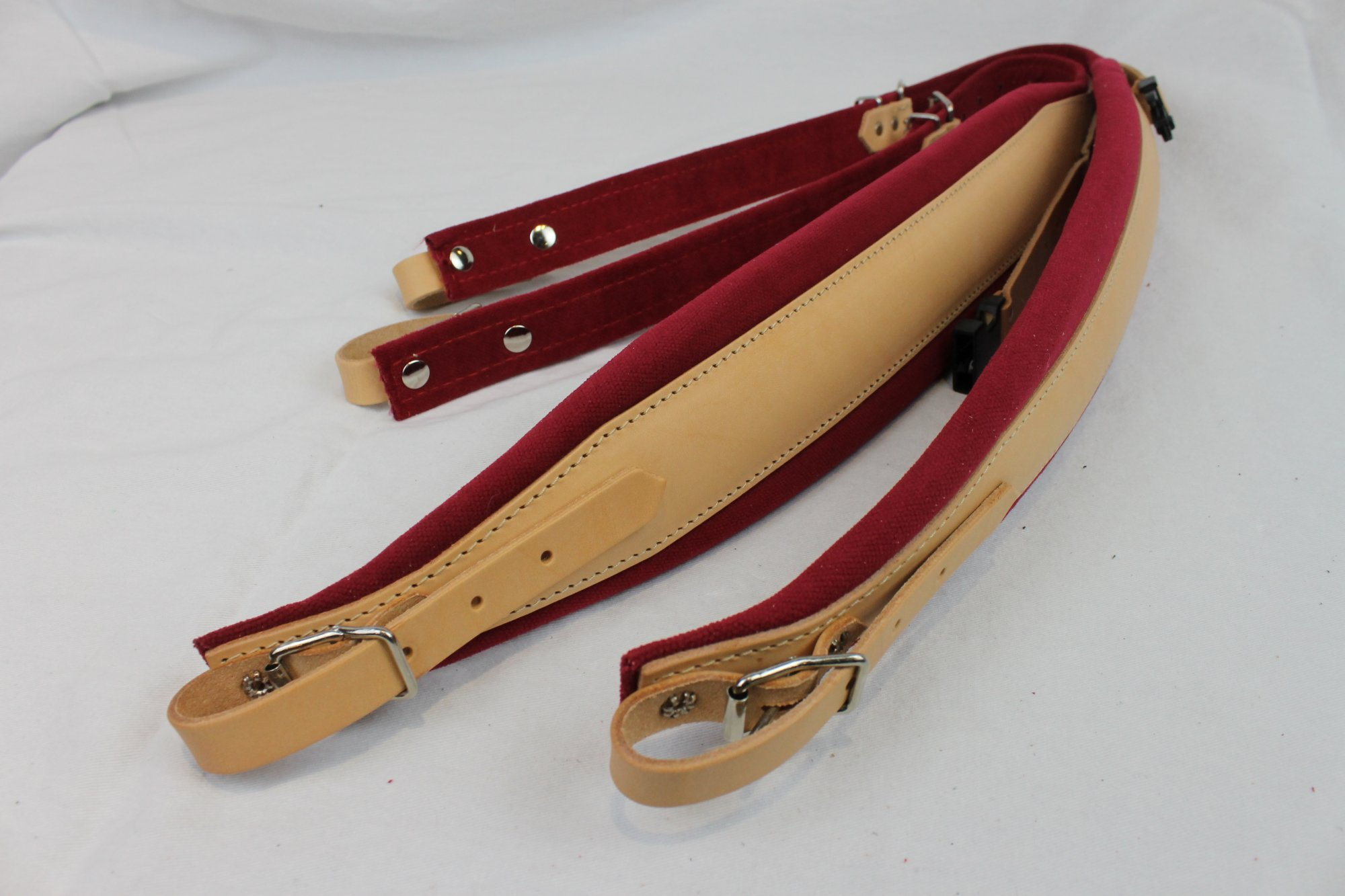 New Tan Leather Red Velour Fuselli Accordion Shoulder Straps Width (8cm / 3.1in) Length (85~105cm / 33.5~41.3in)