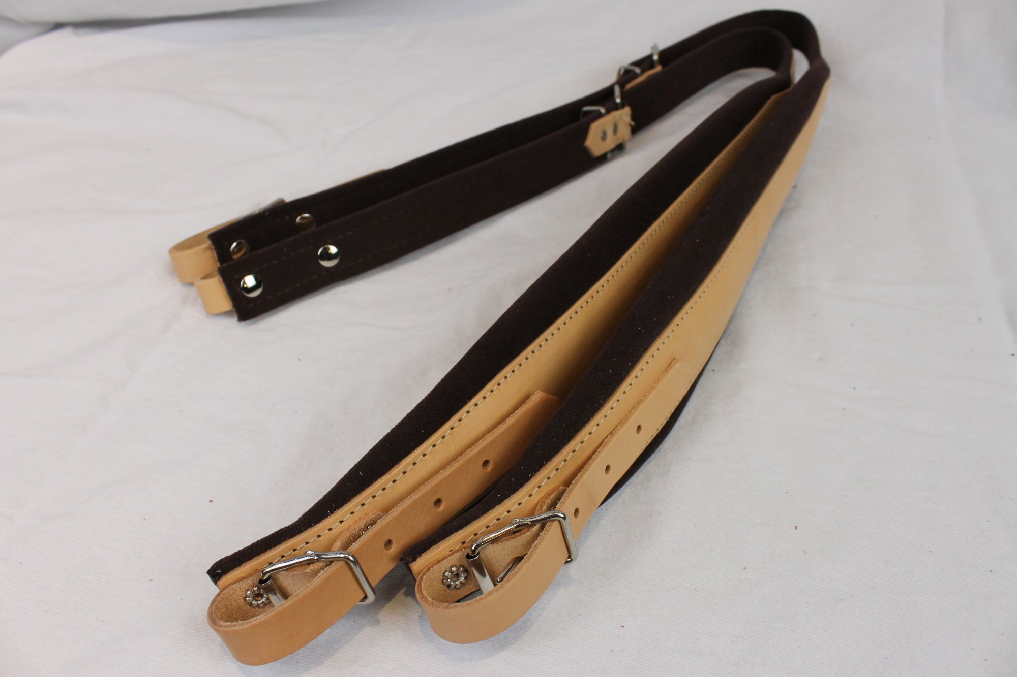 New Tan Leather Brown Velour Fuselli Accordion Shoulder Straps Width (7cm / 2.8in) Length (85~105cm / 33.5~41.3in)