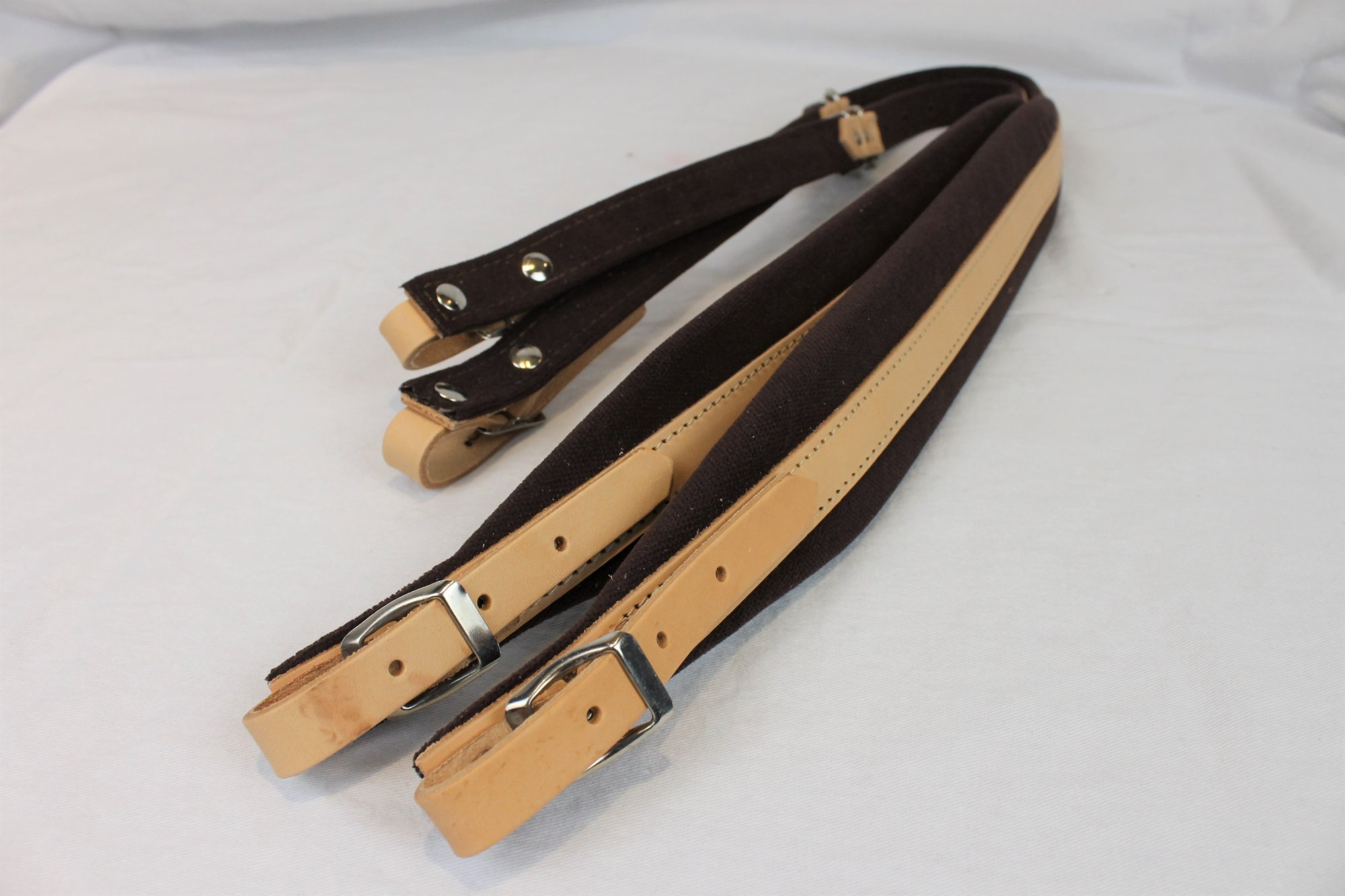 New Tan Leather Brown Velour Fuselli Accordion Shoulder Straps Width (6cm / 2.4in) Length (85~105cm / 33.5~41.3in)