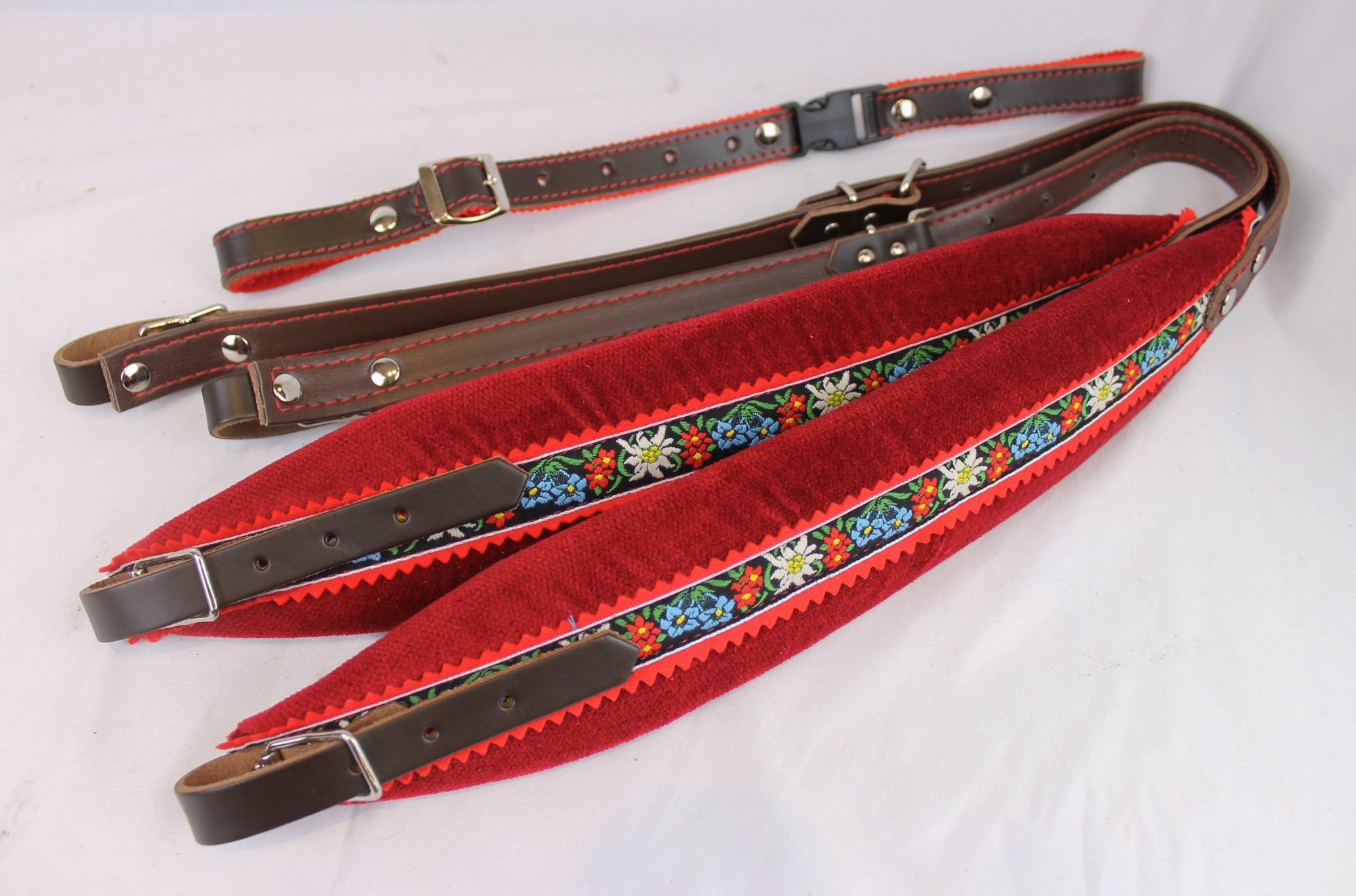 New Red Alpine Velour Fuselli Accordion Shoulder Straps Width (7cm / 2.8in) Length (85~105cm / 35~42.5in)
