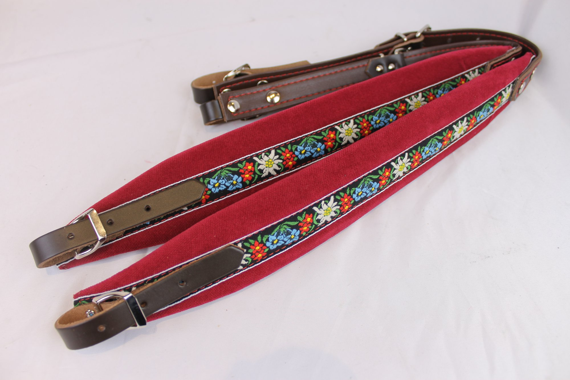 New Red Alpine Velour Fuselli Accordion Shoulder Straps Width (6cm / 2.4in) Length (68.5~86.5cm / 27~34in)