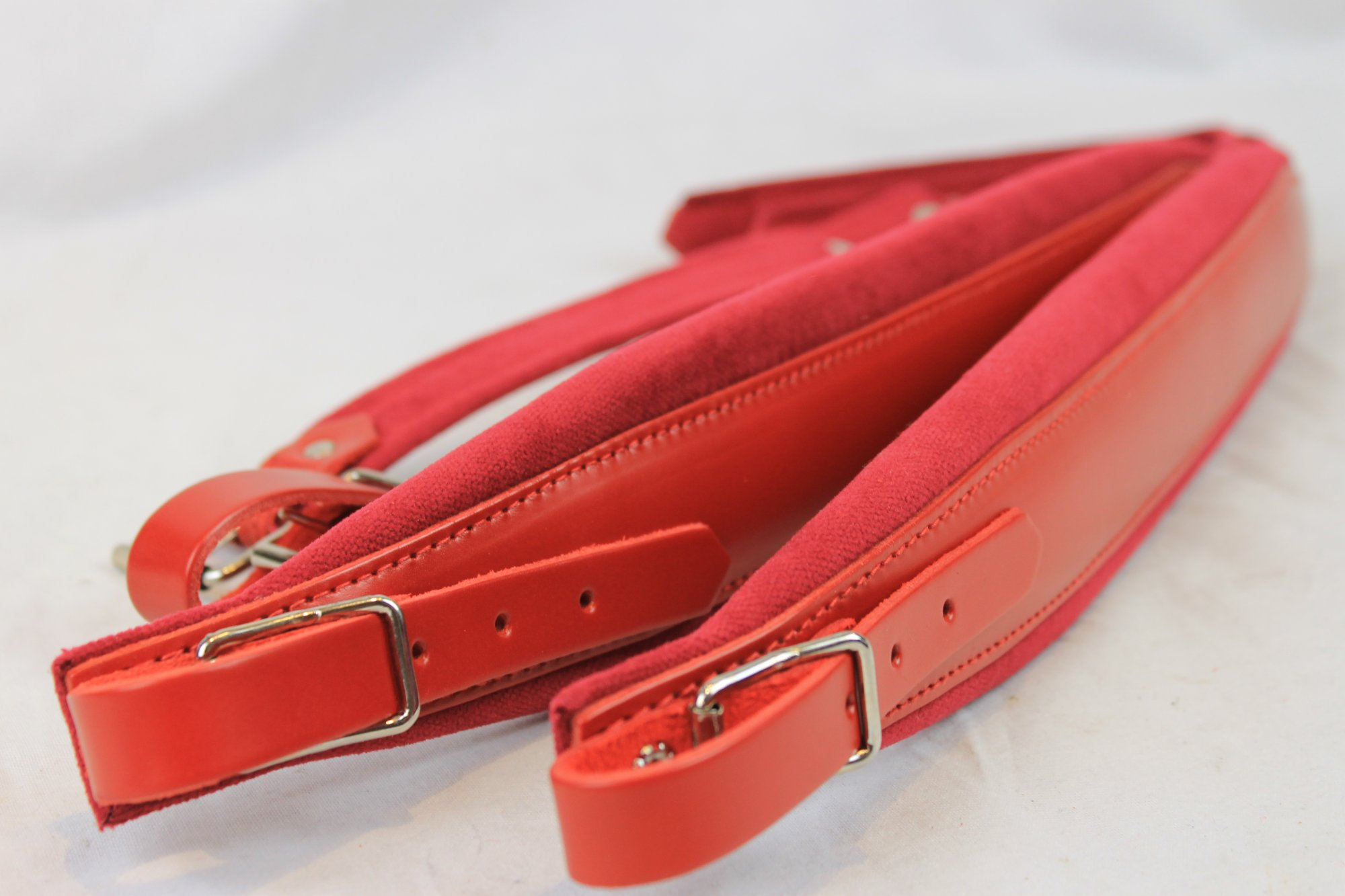 New Red Leather Velour Fuselli Accordion Shoulder Straps Width (7cm / 2.8in) Length (85~105cm / 33.5~41.3in)