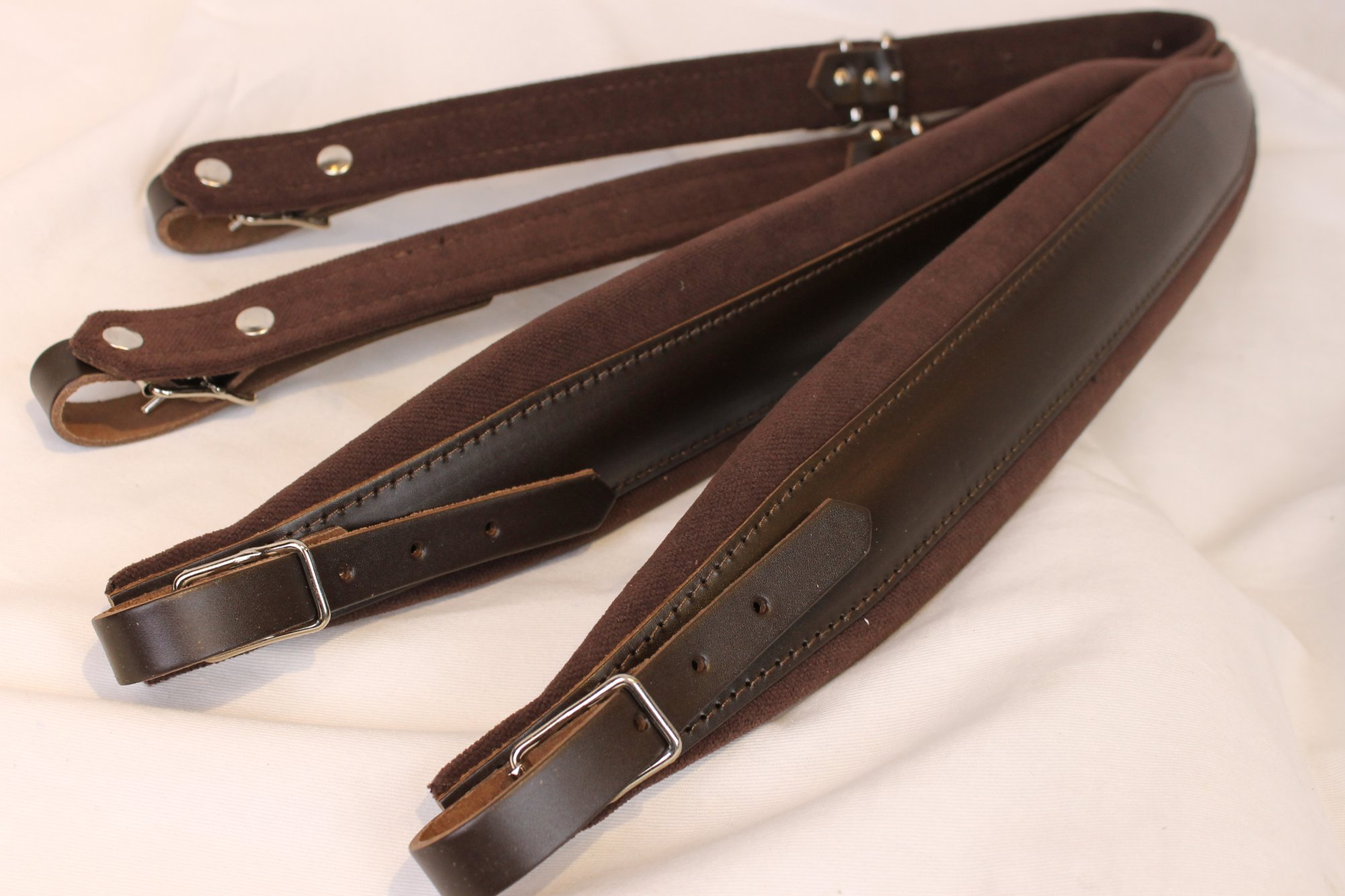 New Brown Leather Velour Fuselli Accordion Shoulder Straps Width (7cm / 2.8in) Length (85~105cm / 33.5~41.3in)