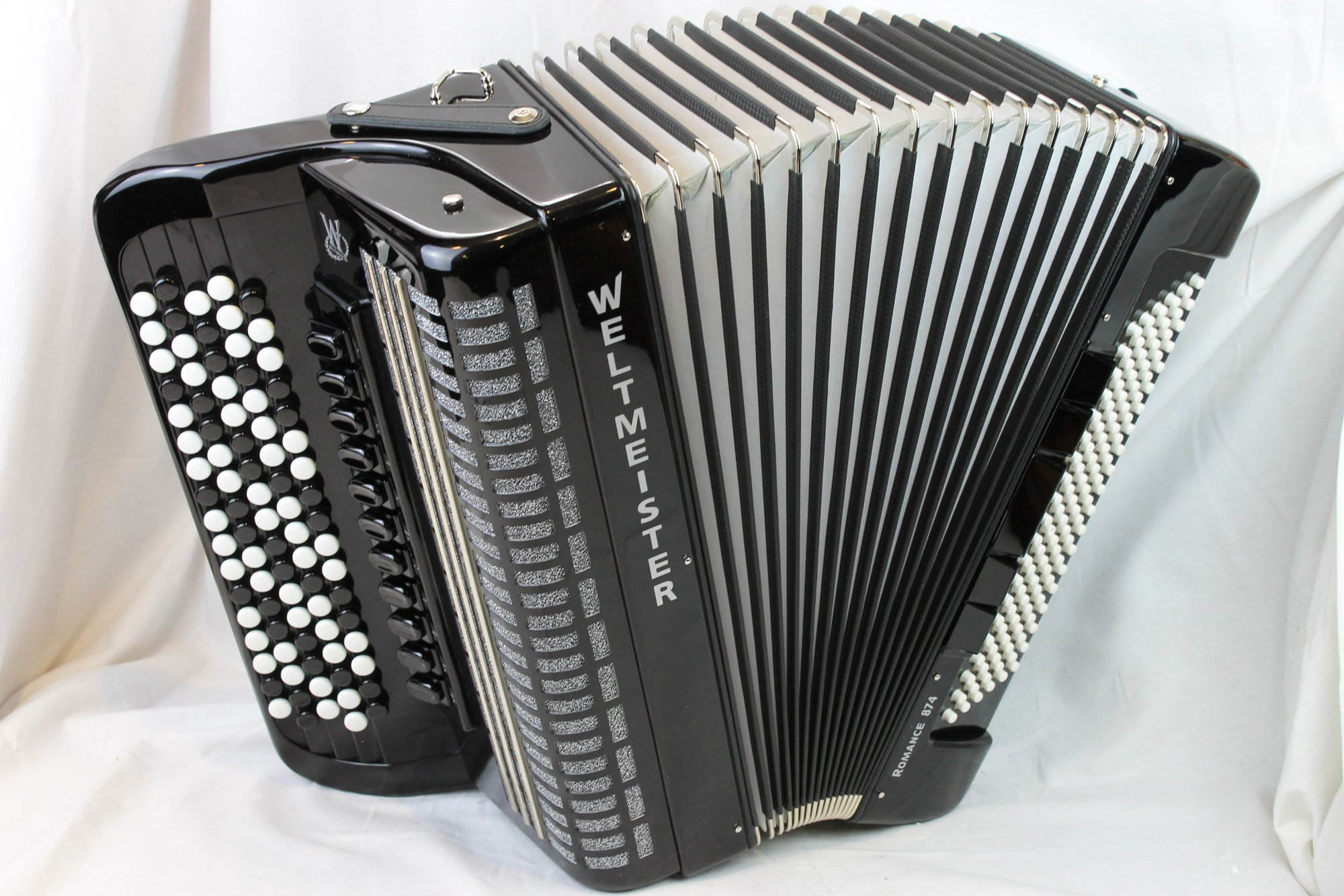 NEW Black Weltmeister Romance 874 Chromatic Button Accordion B System LMMH 87 120