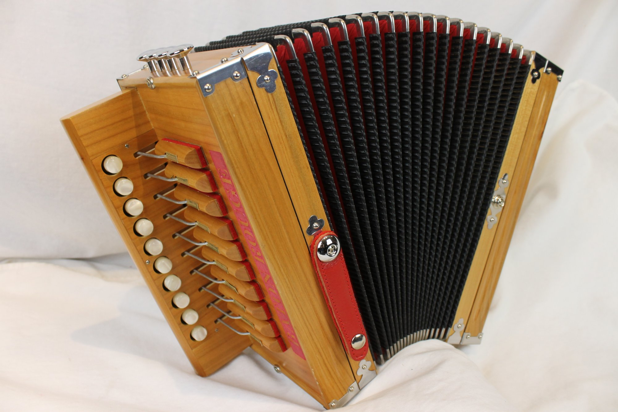 NEW Cherry Excelsior Acadia Diatonic Button Accordion D LMMH 10 2