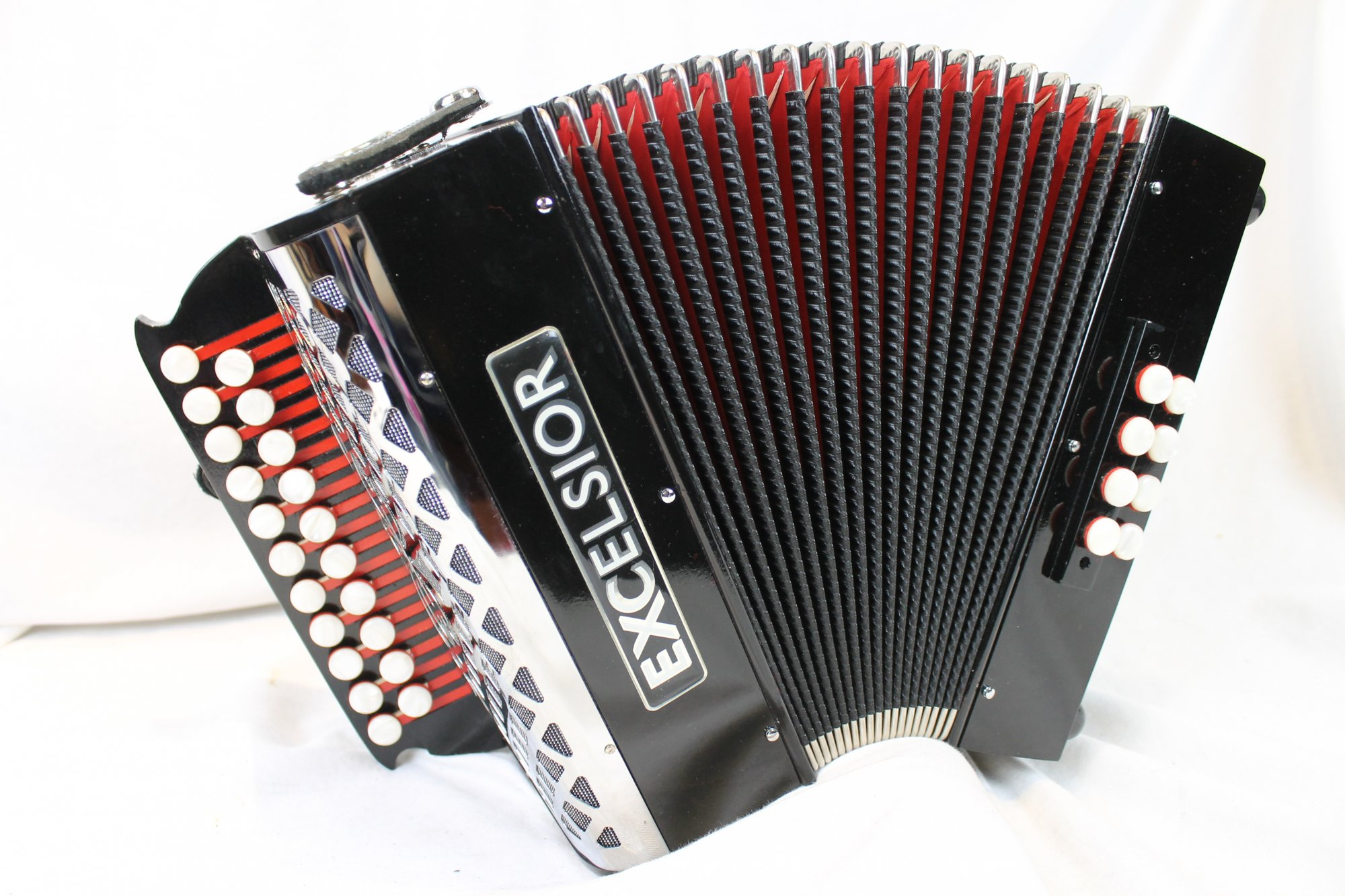 Like New Black Excelsior 8BF Diatonic Button Accordion GC MM 21 8