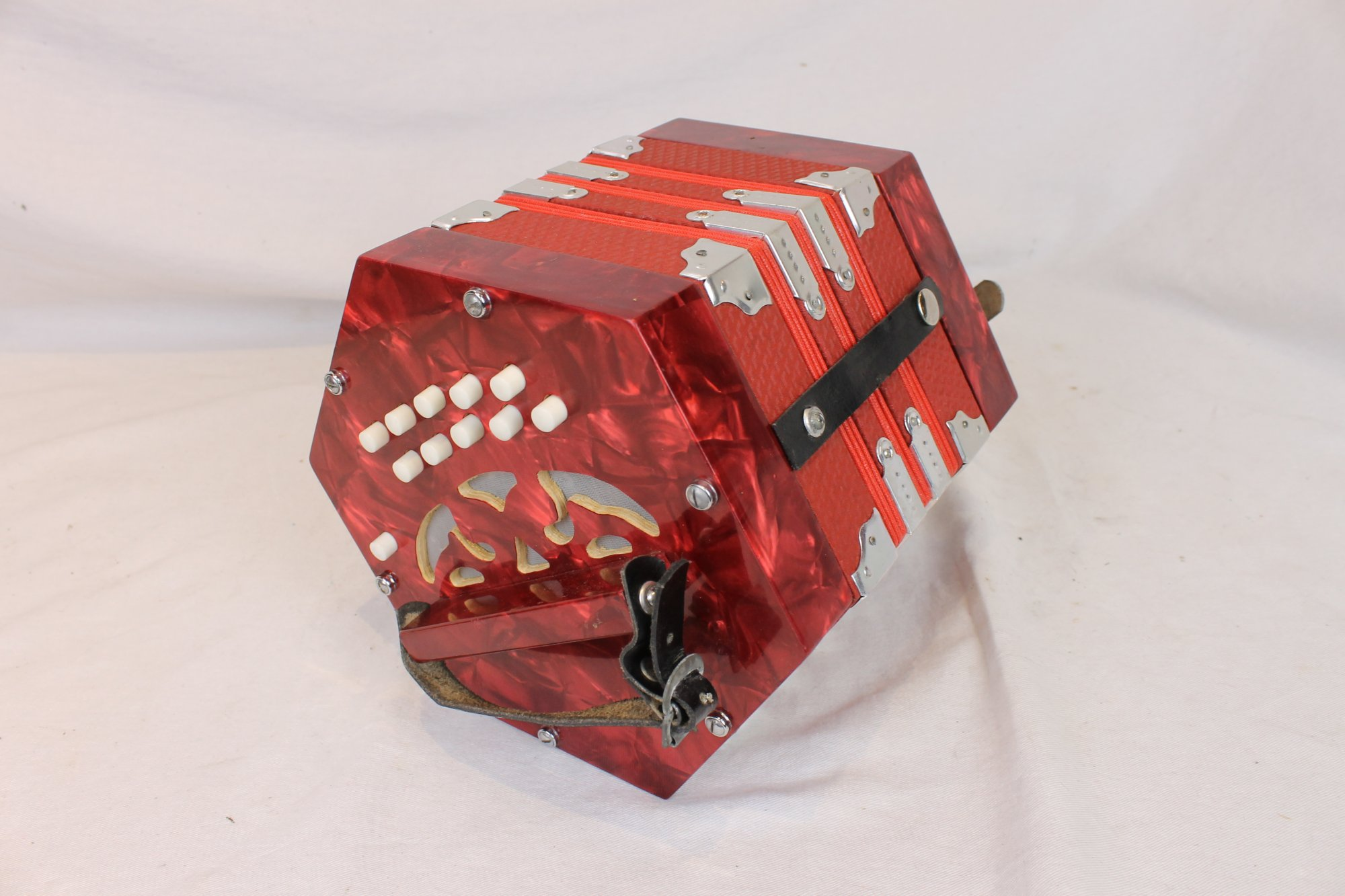 4017 - Red Anglo Concertina CG 20