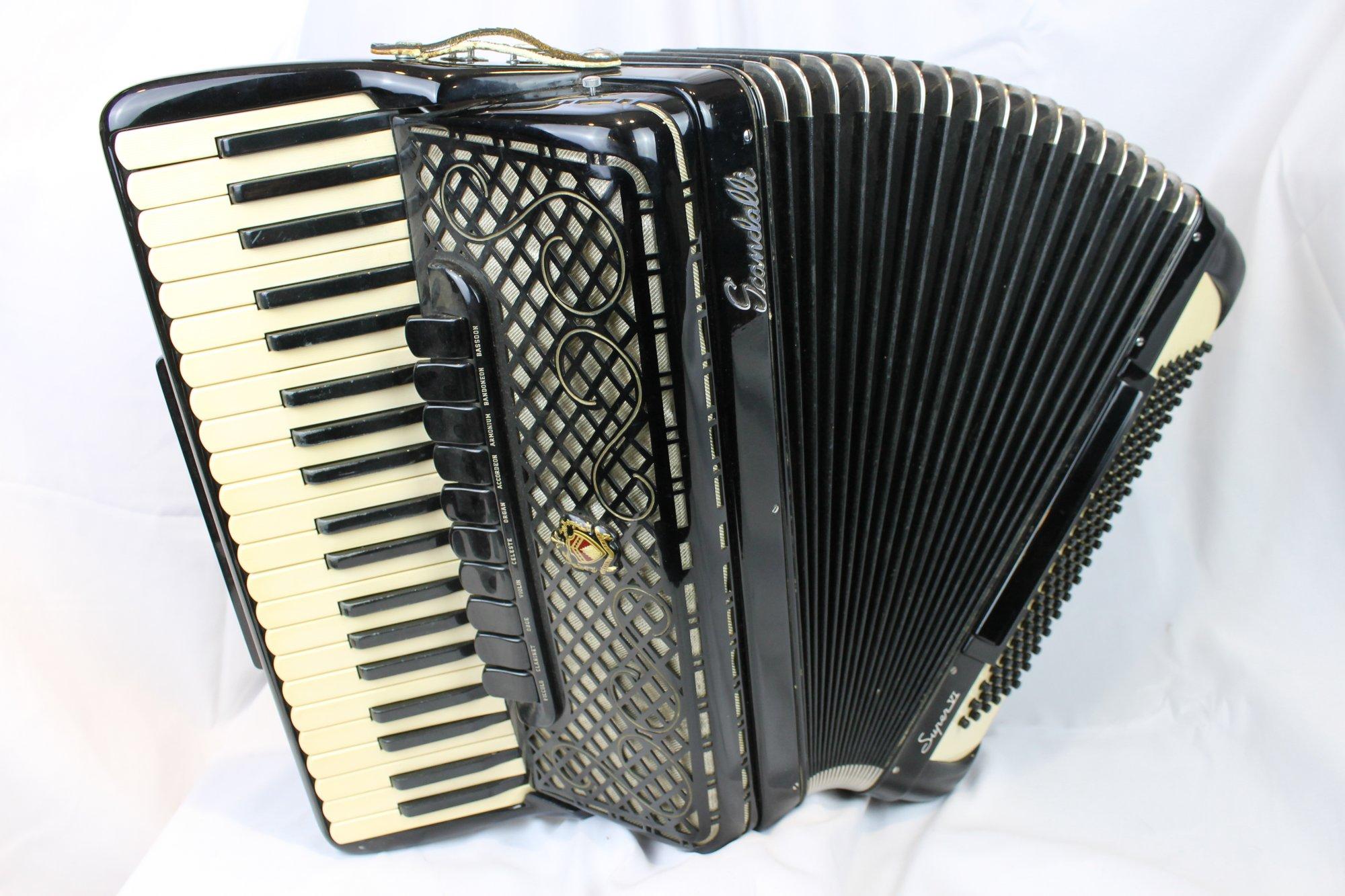 4032 - Black Scandalli Super VI 4S Vintage 1960s Piano Accordion LMMH 41 120
