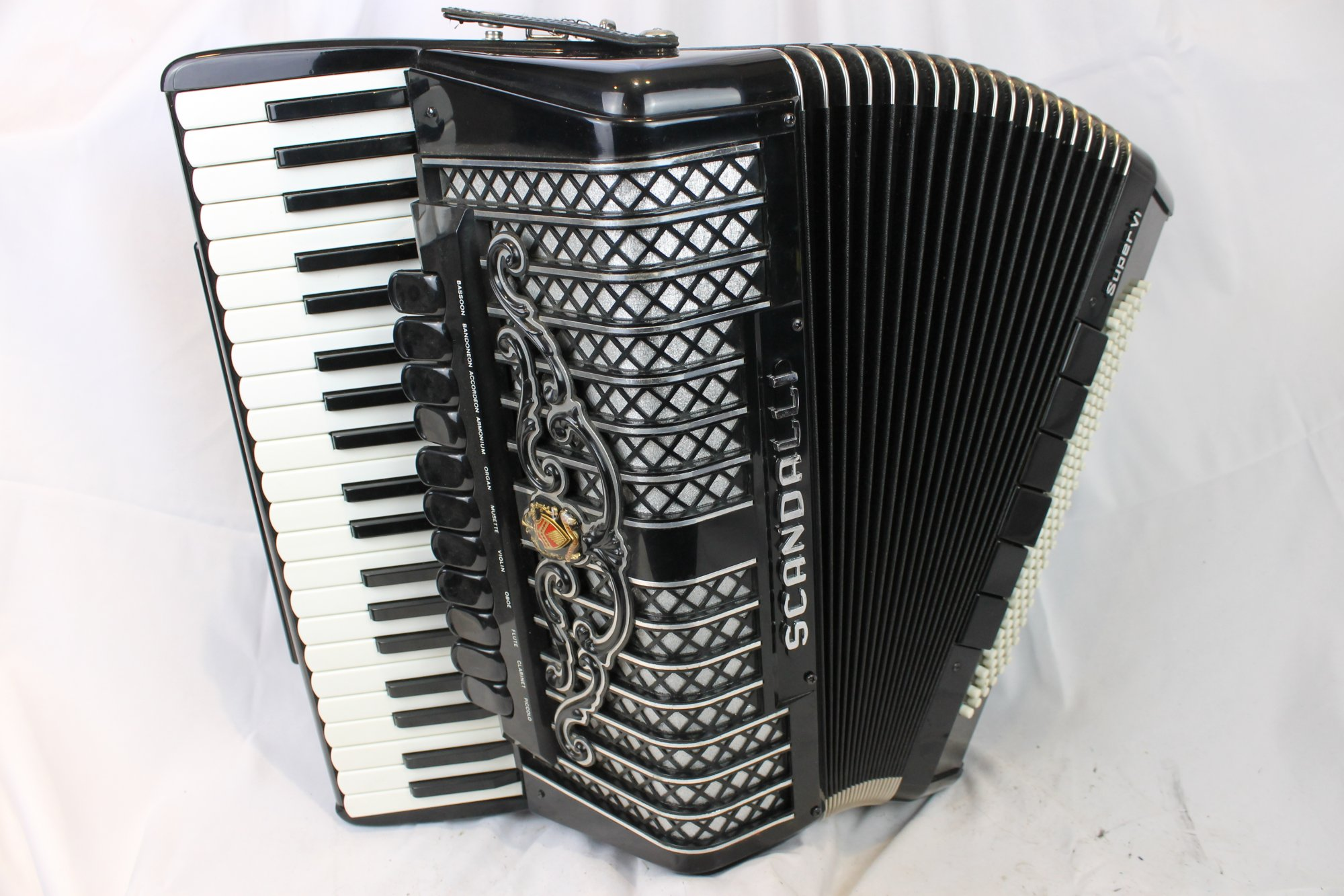 4034 - Black Scandalli Super VI Piano Accordion LMMH 41 120
