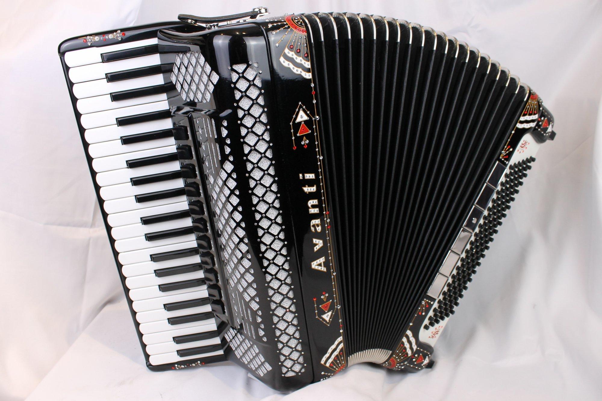 4054 - Like New Decorated Black Avanti Classic (Excelsior 911) Piano Accordion LMMM 41 120