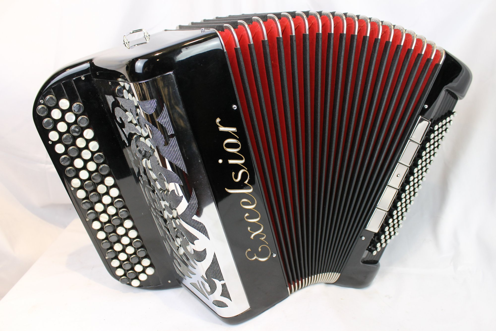 4061 - Like New Black Excelsior French C System Chromatic Button Accordion LMM 68 96