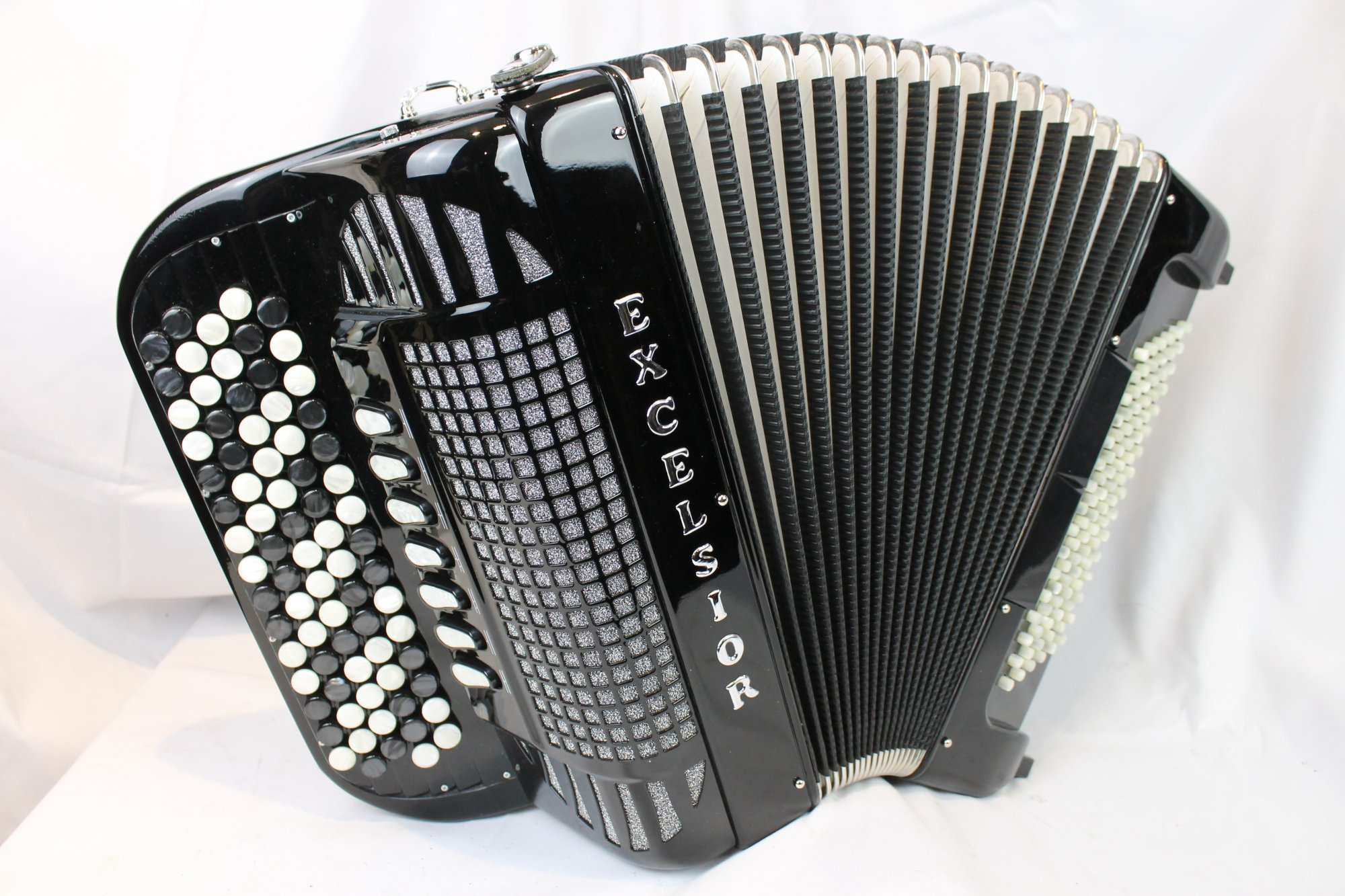 NEW Black Excelsior 696 Chromatic Button Accordion C LMM 77 96