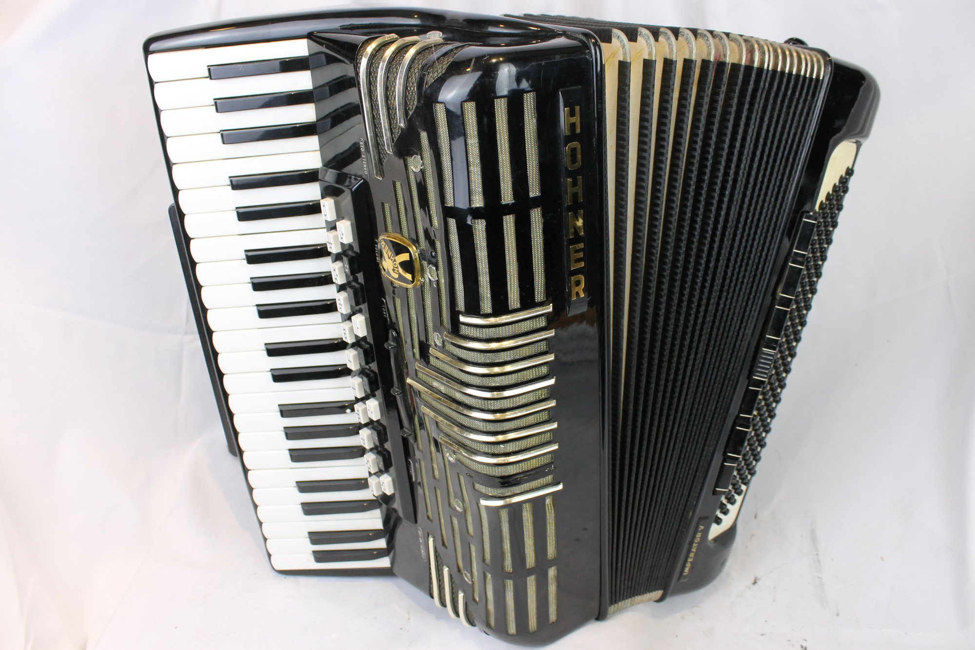 4068 - Black Hohner Morino Imperator V Piano Accordion LMMMH 41 120