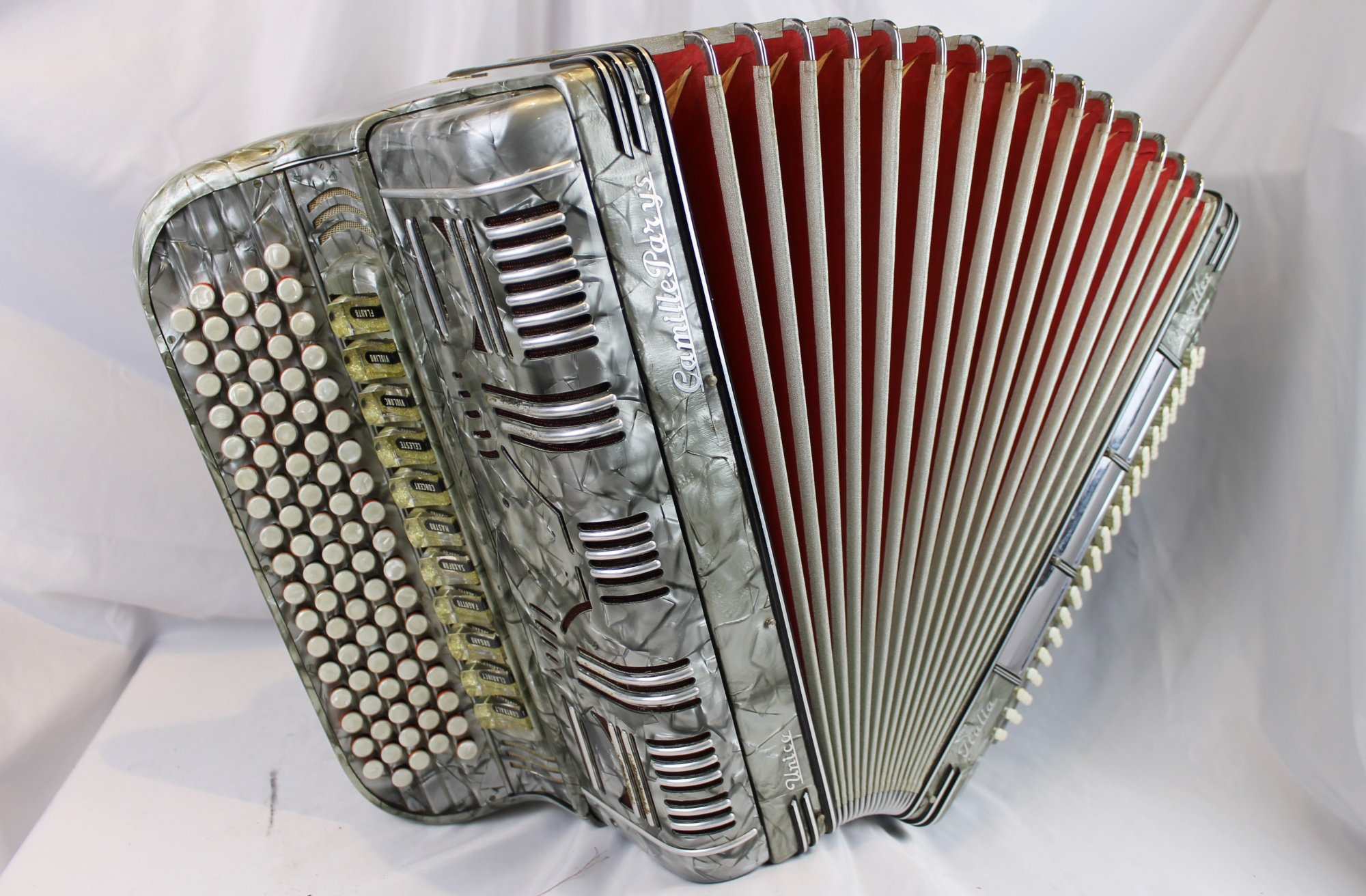 4078 - Silver Unico Camille Parys Bruxelles B System Chromatic Button Accordion LMMH 87 120 Belgian Bass