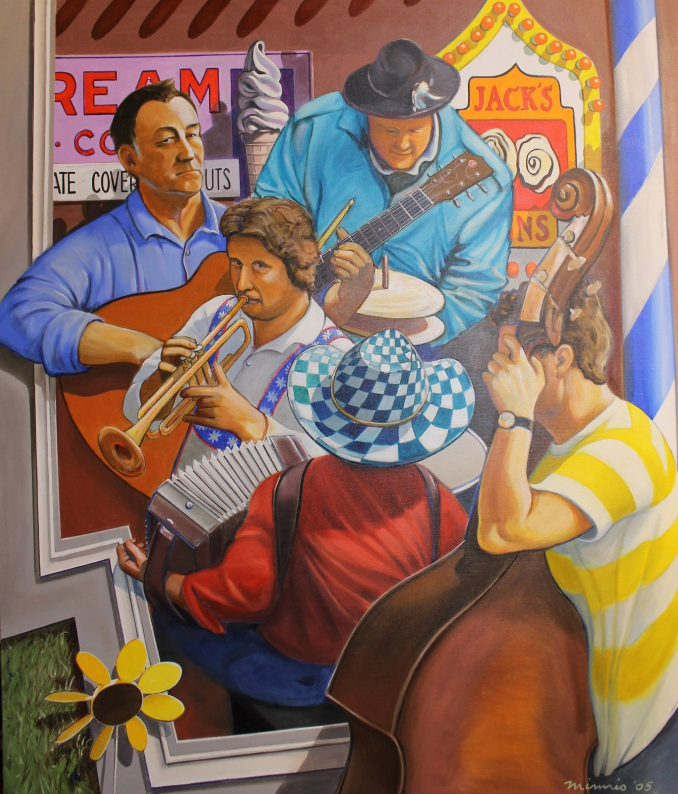 Large Painting on Canvas 52 x 44 x 1  - Musical Ensemble Accordion, Trumpet, Bass, Guitar, Drums