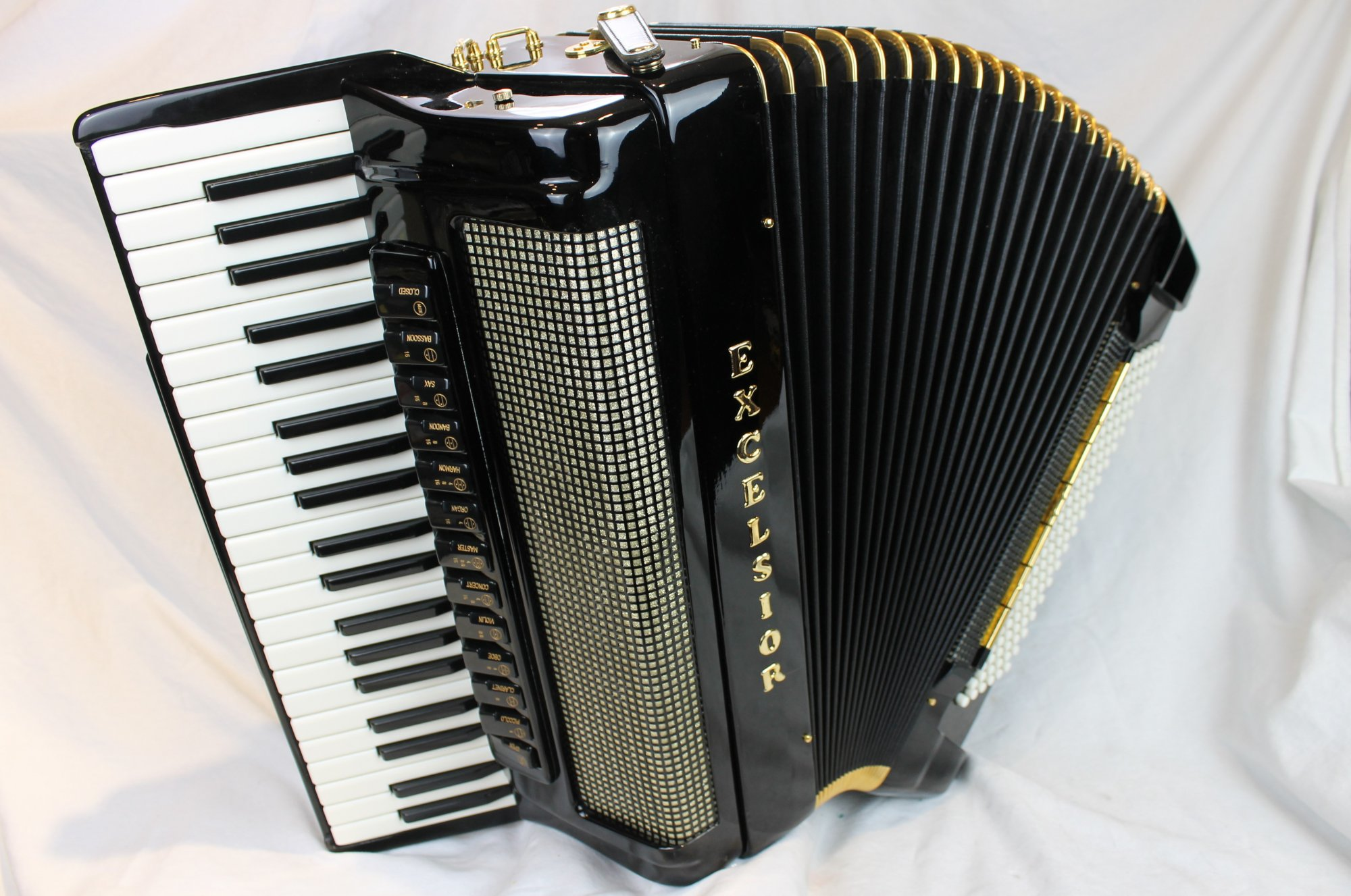 4158 - Like New Black Excelsior Symphony Gold Piano Accordion LMMH 42 120