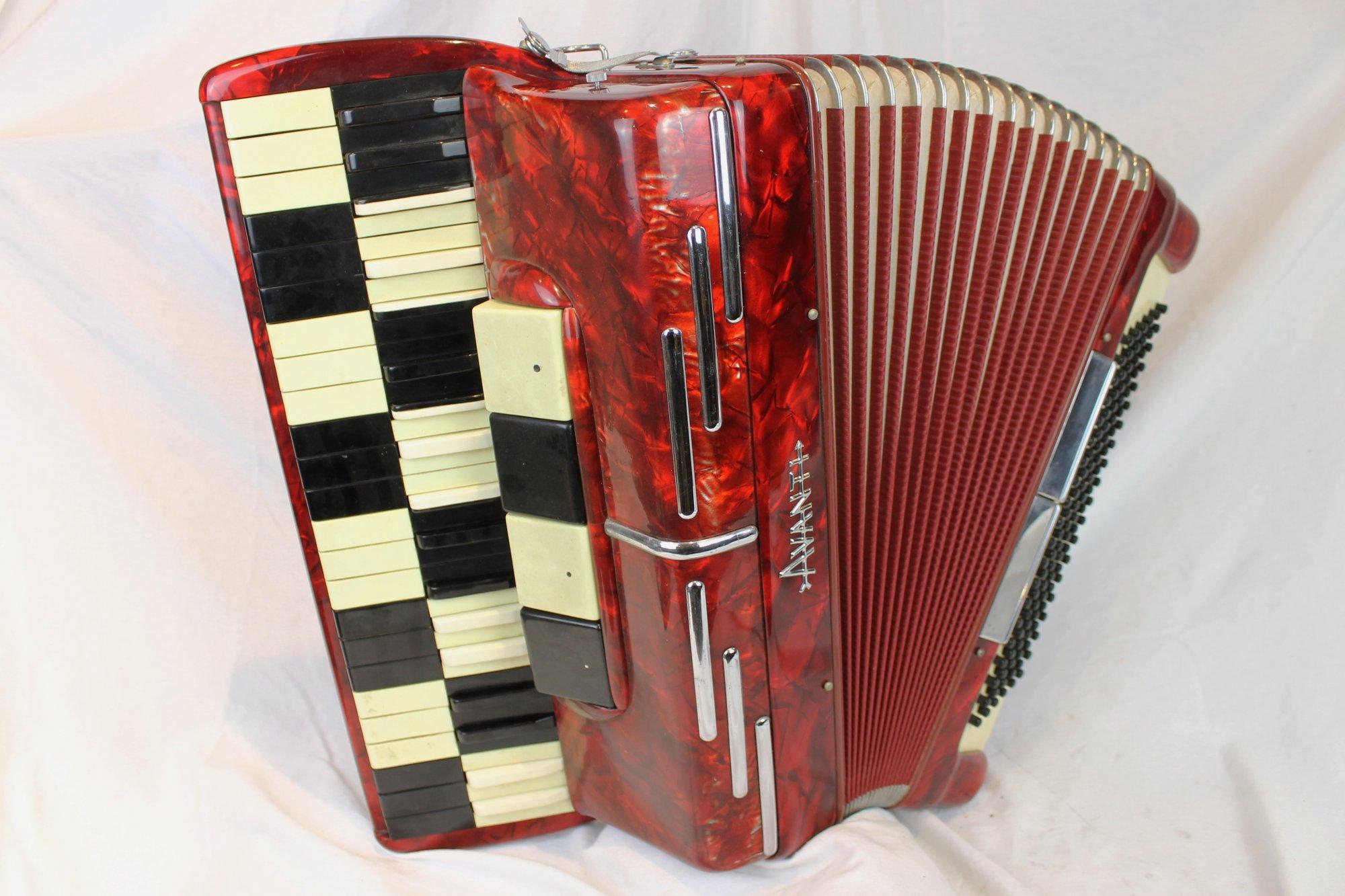 4178 - Red Checkerboard Avanti Piano Accordion LMH 41 120