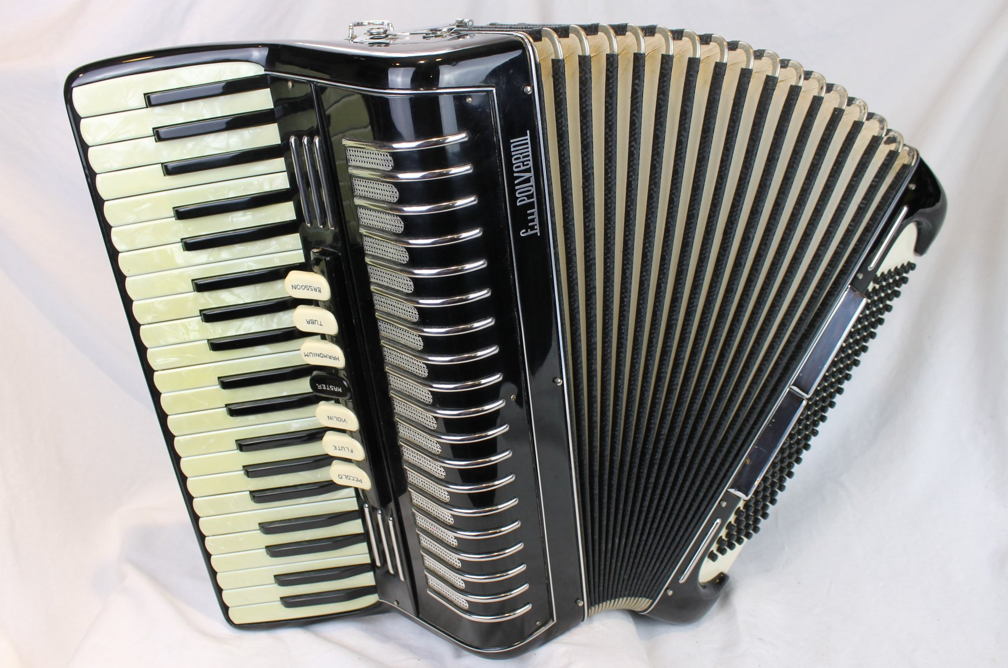 4212 - Black Fratelli Polverini Tone Chambered Piano Accordion LMH 41 120