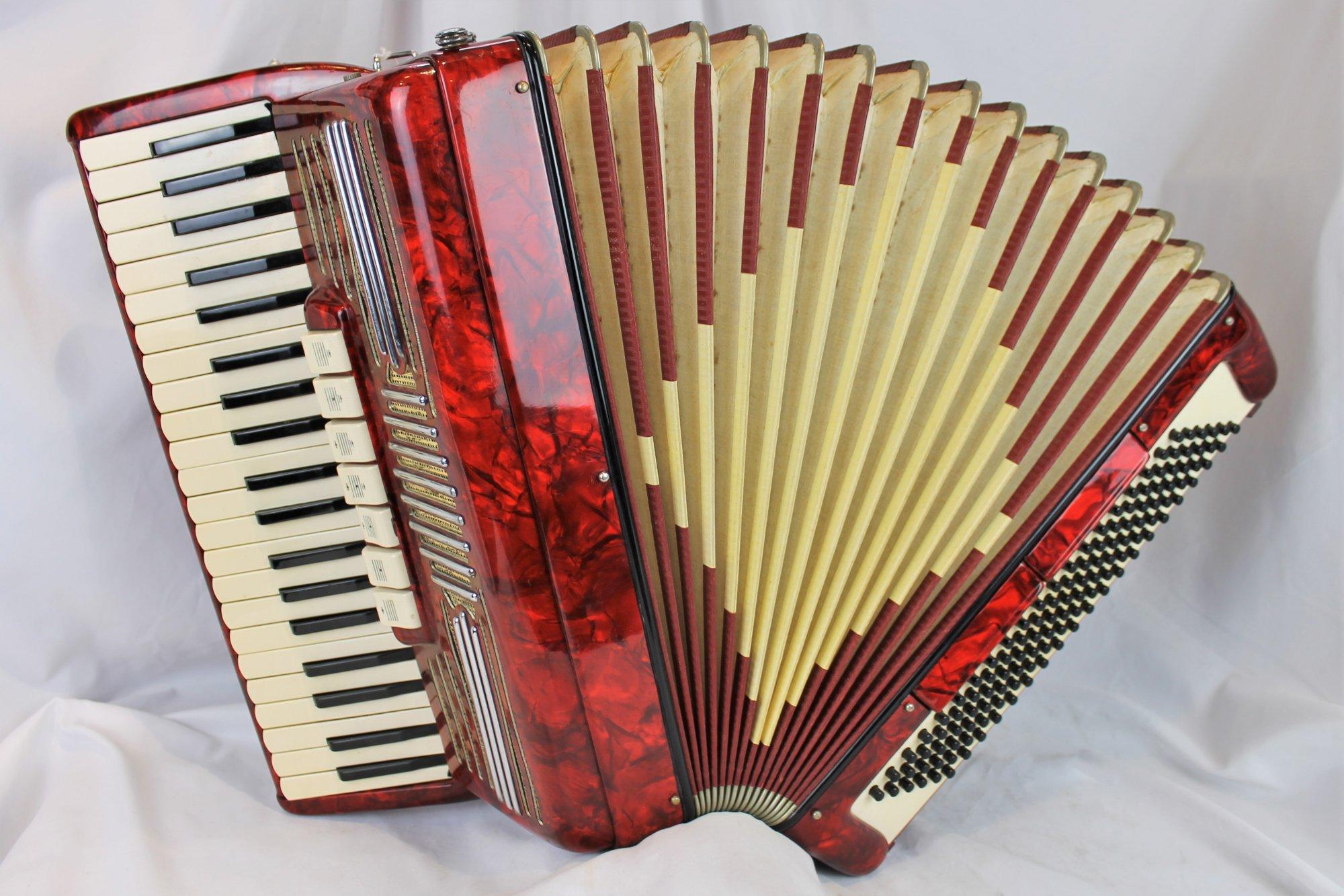 4393 - Red Italian Piano Accordion LMH 41 120