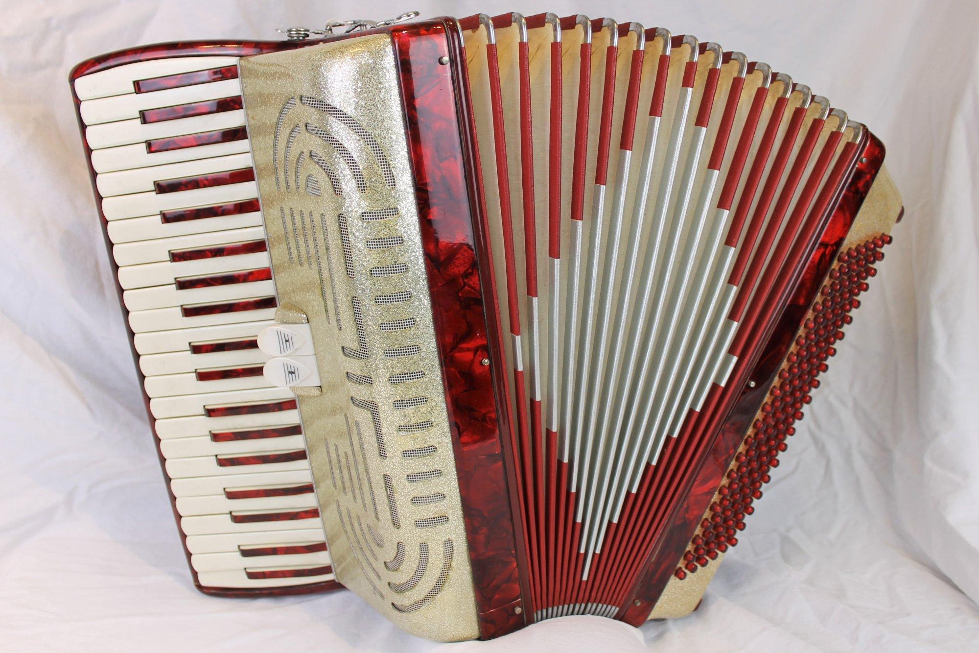 4404 - Red Gold Italian Piano Accordion LM 41 120