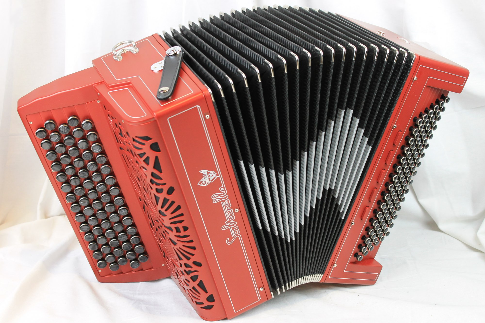 NEW Red Saltarelle Artefact Chromatic Button Accordion LMM 72 96