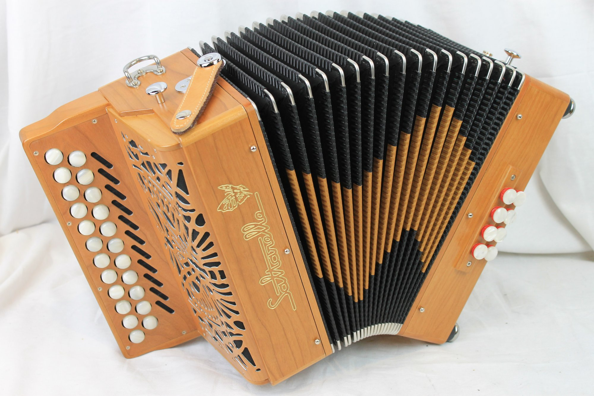NEW Cherry Saltarelle Awen Diatonic Button Accordion B C LMM 23 8