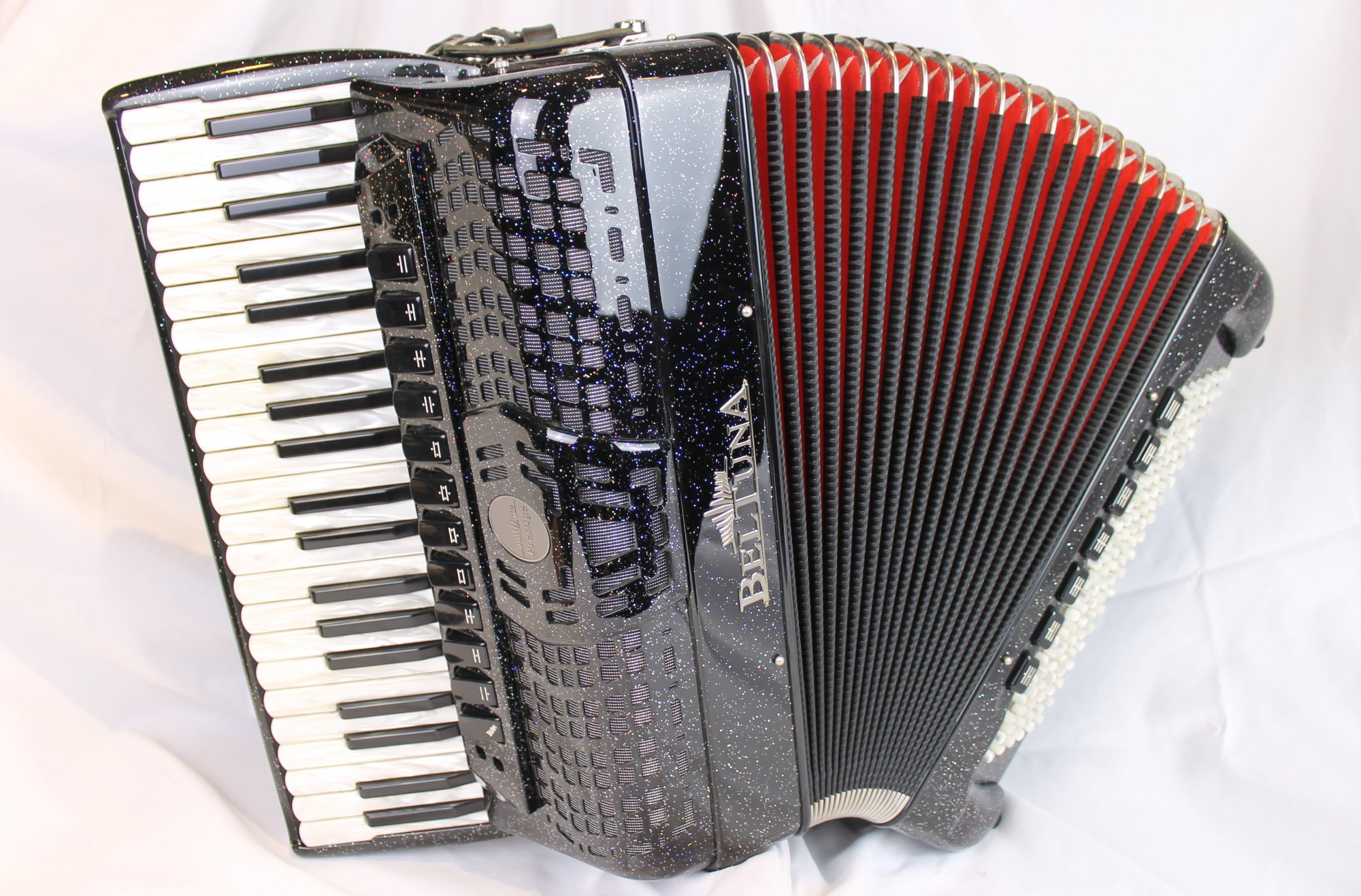 NEW Black Sparkle Beltuna Prestige IV Piano Accordion LMMH 41 120
