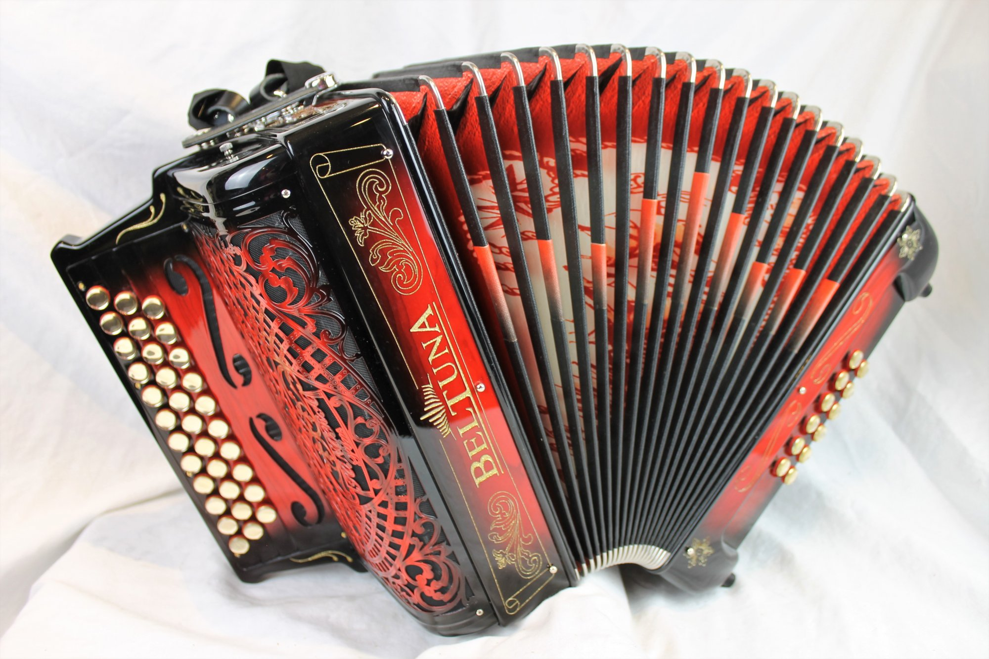 NEW Red Shadow Beltuna Sonora Luxe Pro Portuguese Concertina Diatonic Button Accordion GCF MMMM 33 12